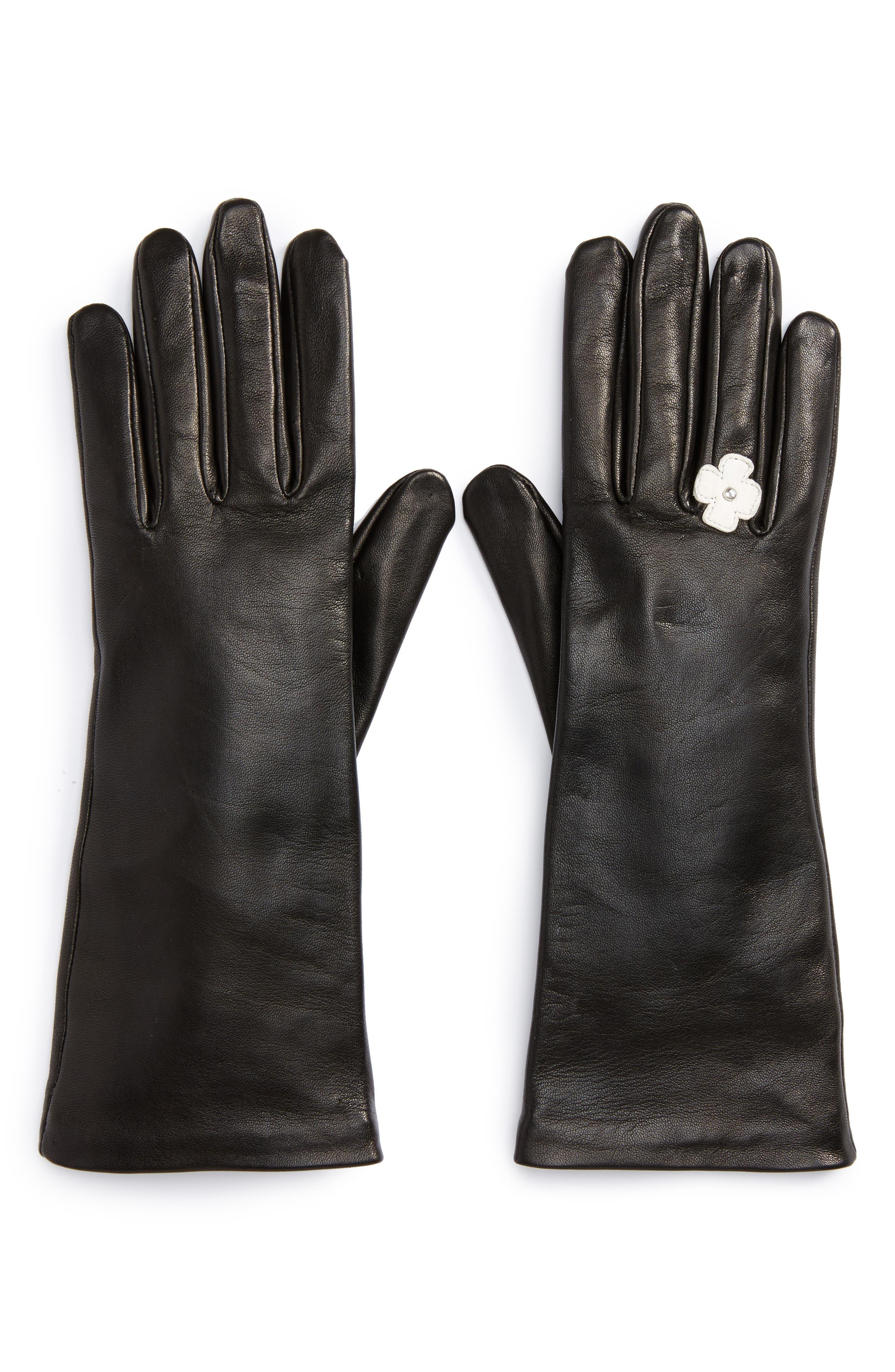 Lambskin Leather Gloves,                             Alternate thumbnail 2, color,                             Noir