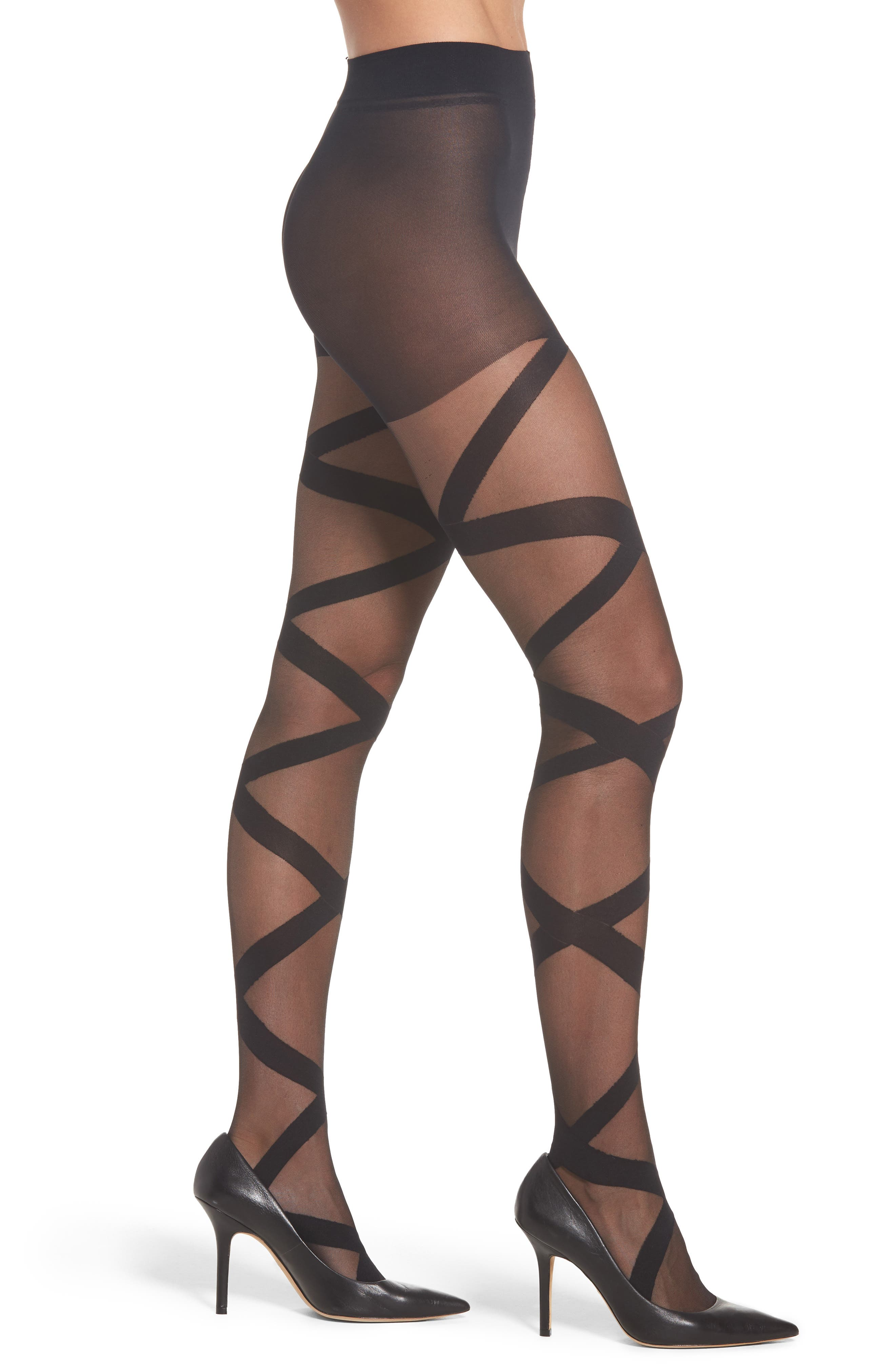 Fleming Athena Stripe Pantyhose,                             Main thumbnail 1, color,                             Black