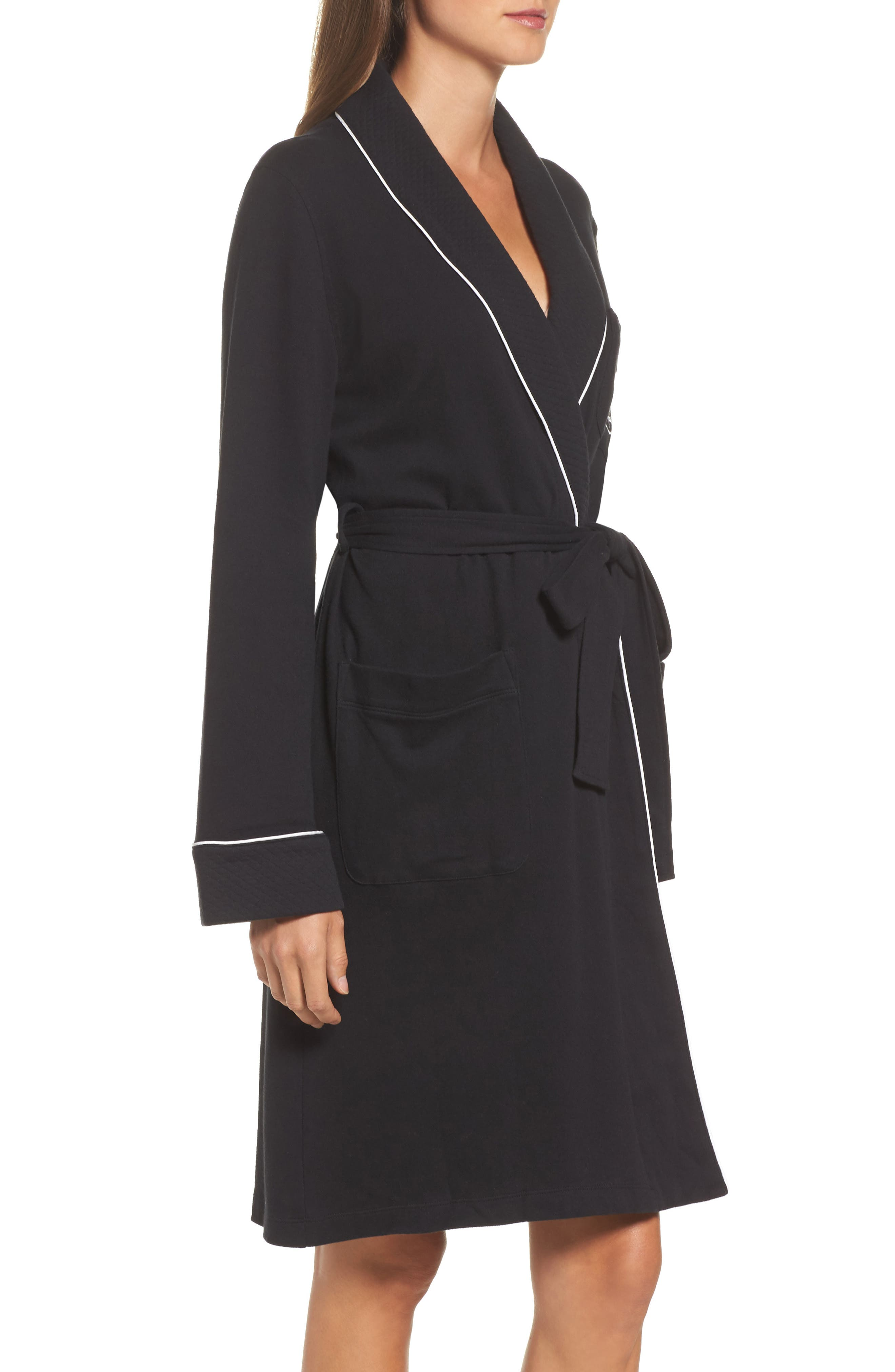 Quilted Collar Robe,                             Alternate thumbnail 3, color,                             Black