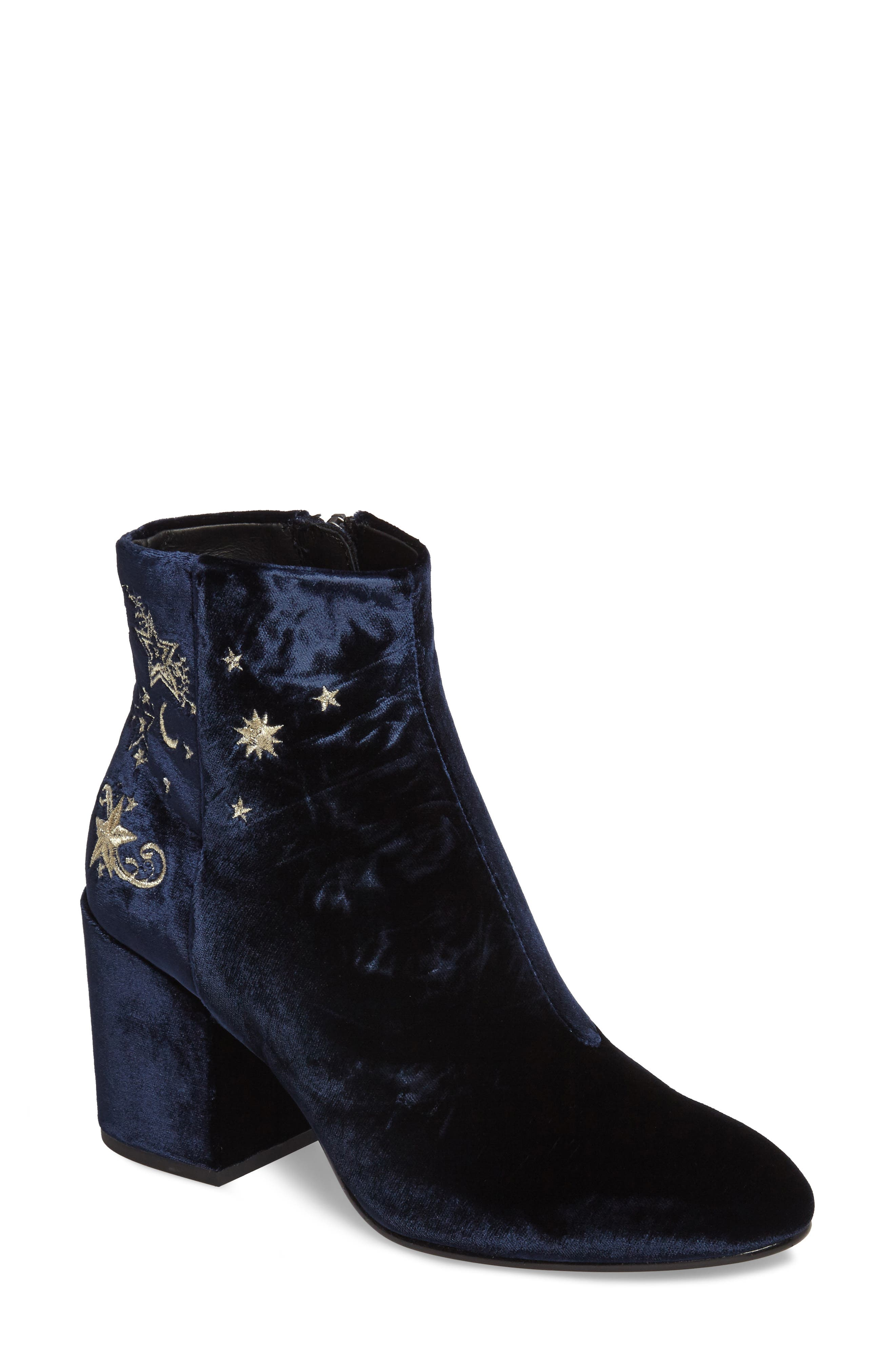 Elixir Embroidered Velvet Bootie,                             Main thumbnail 1, color,                             Midnight Fabric
