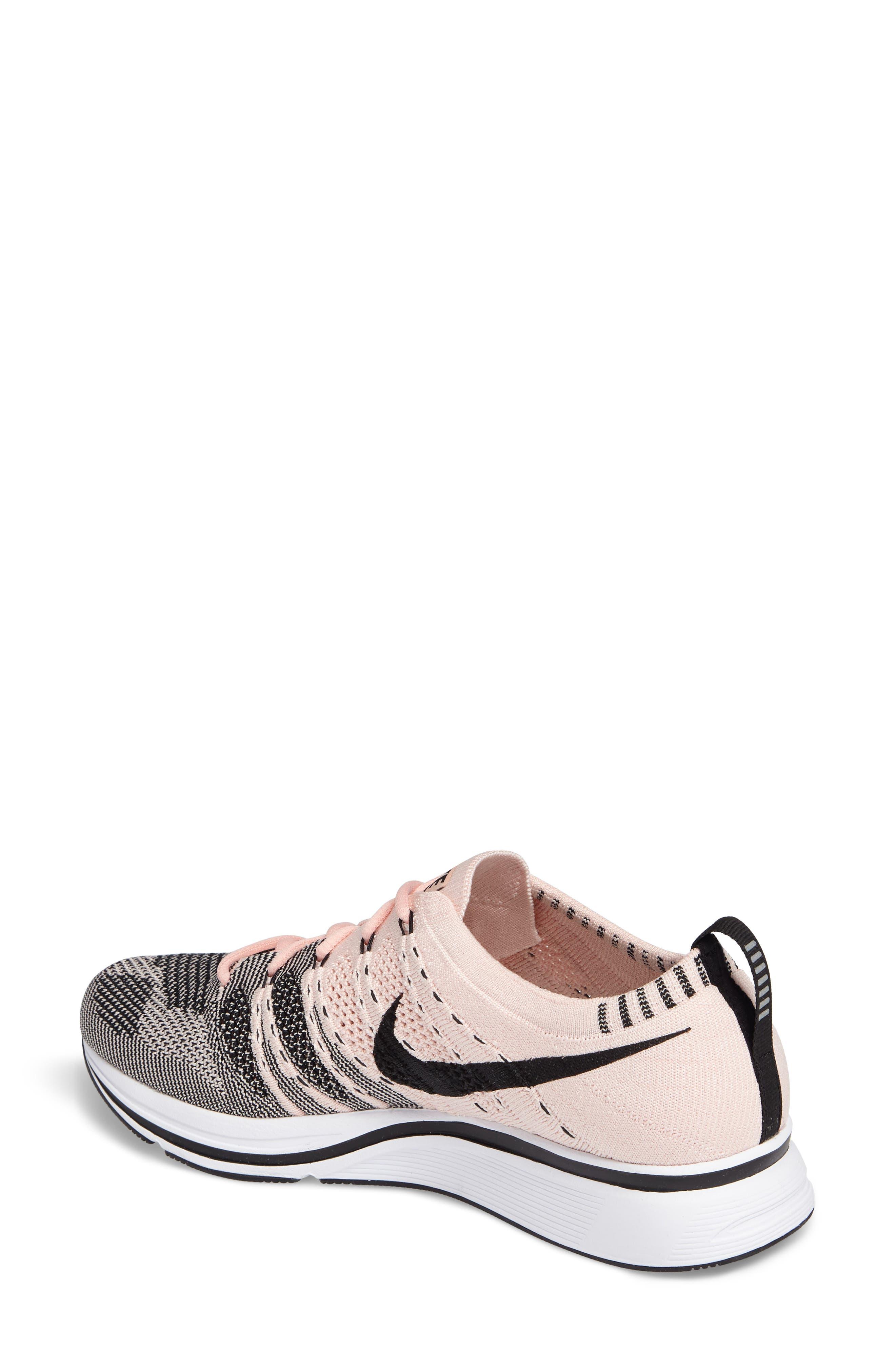 NikeLab Flyknit Trainer Sneaker,                             Alternate thumbnail 2, color,                             Sunset Tint/Black-White