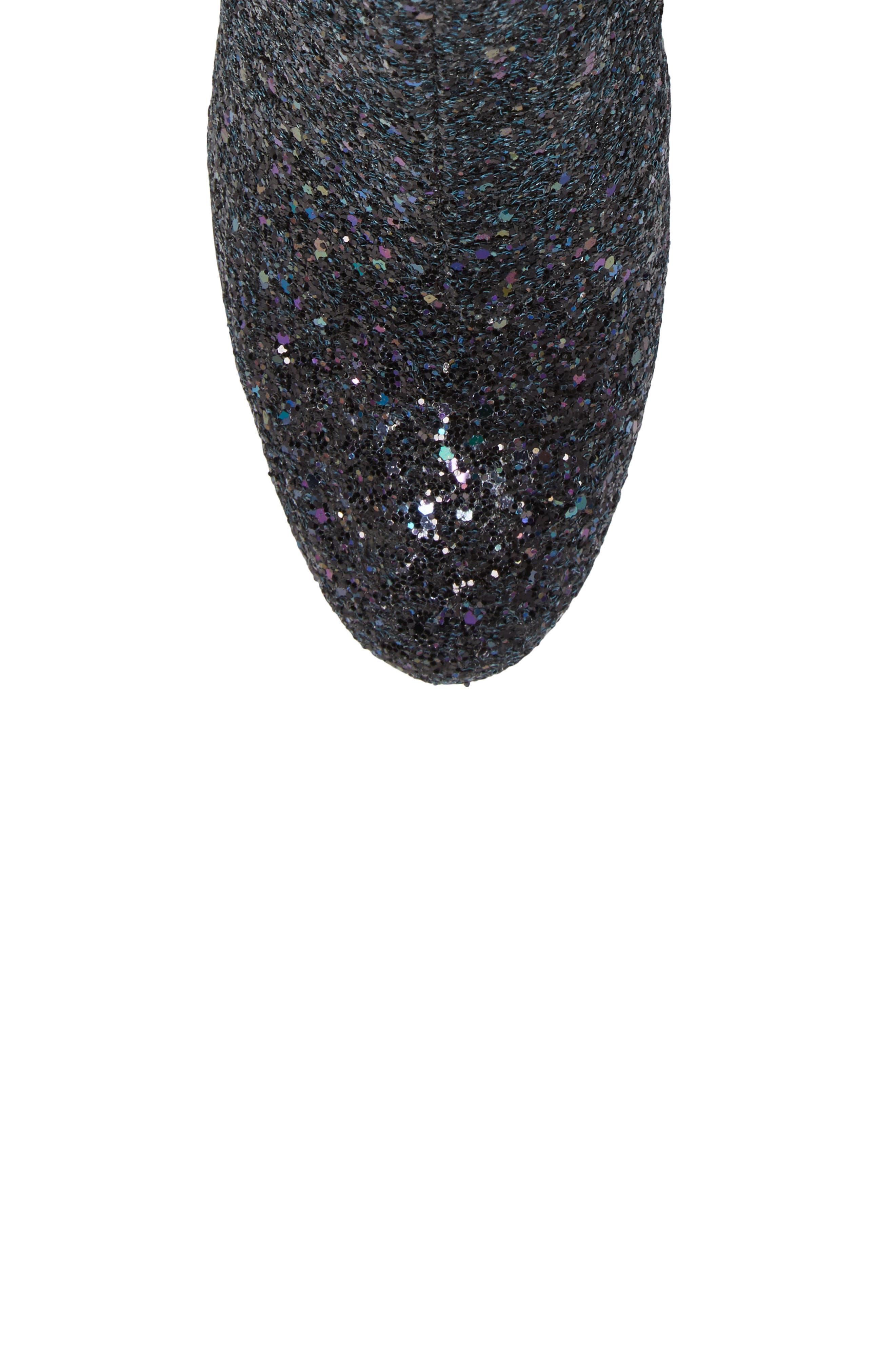 Egoiste Glitter Bootie,                             Alternate thumbnail 5, color,                             Midnight Glitter Fabric