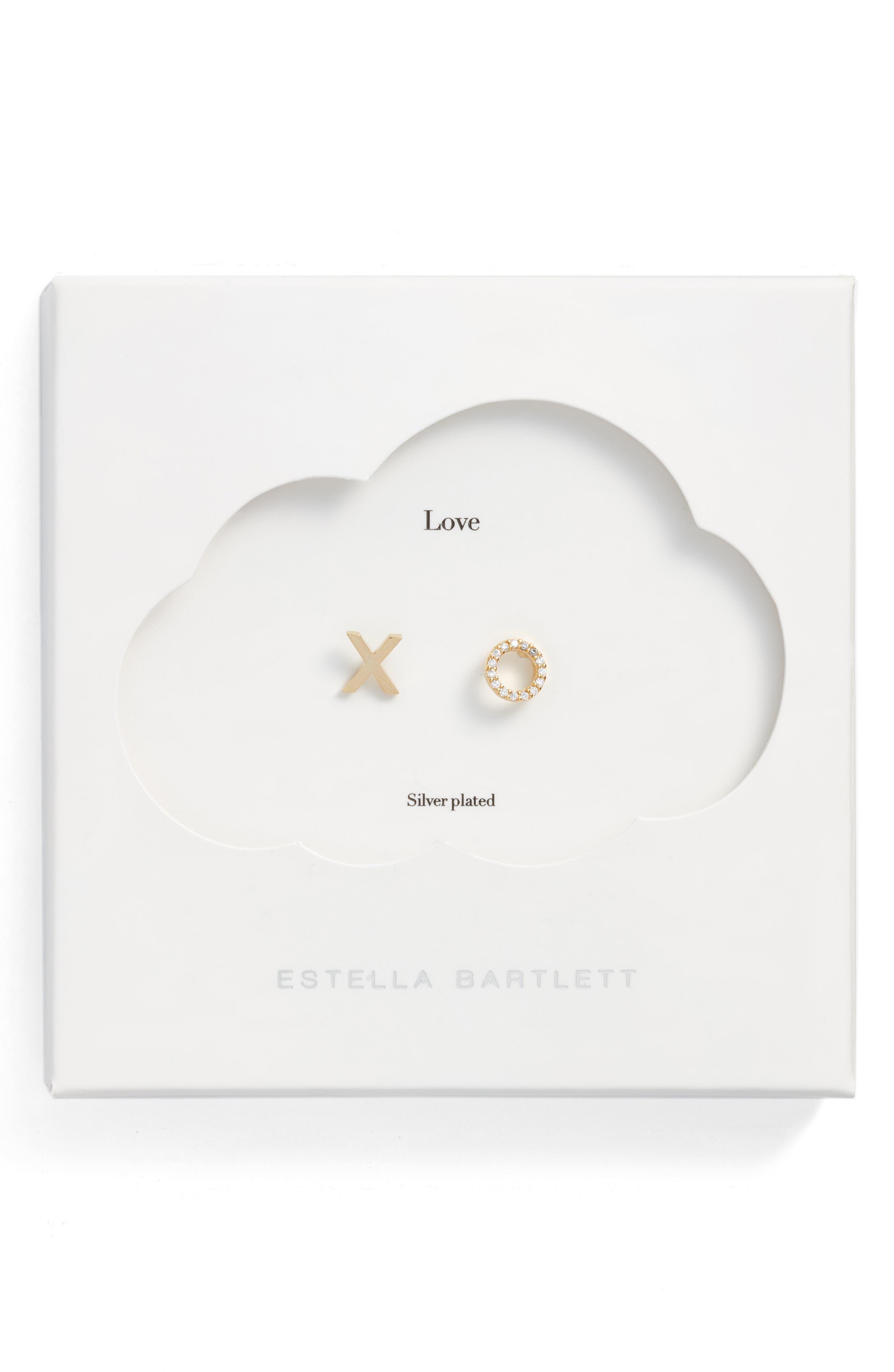 XO Stud Earrings,                             Main thumbnail 1, color,                             Gold