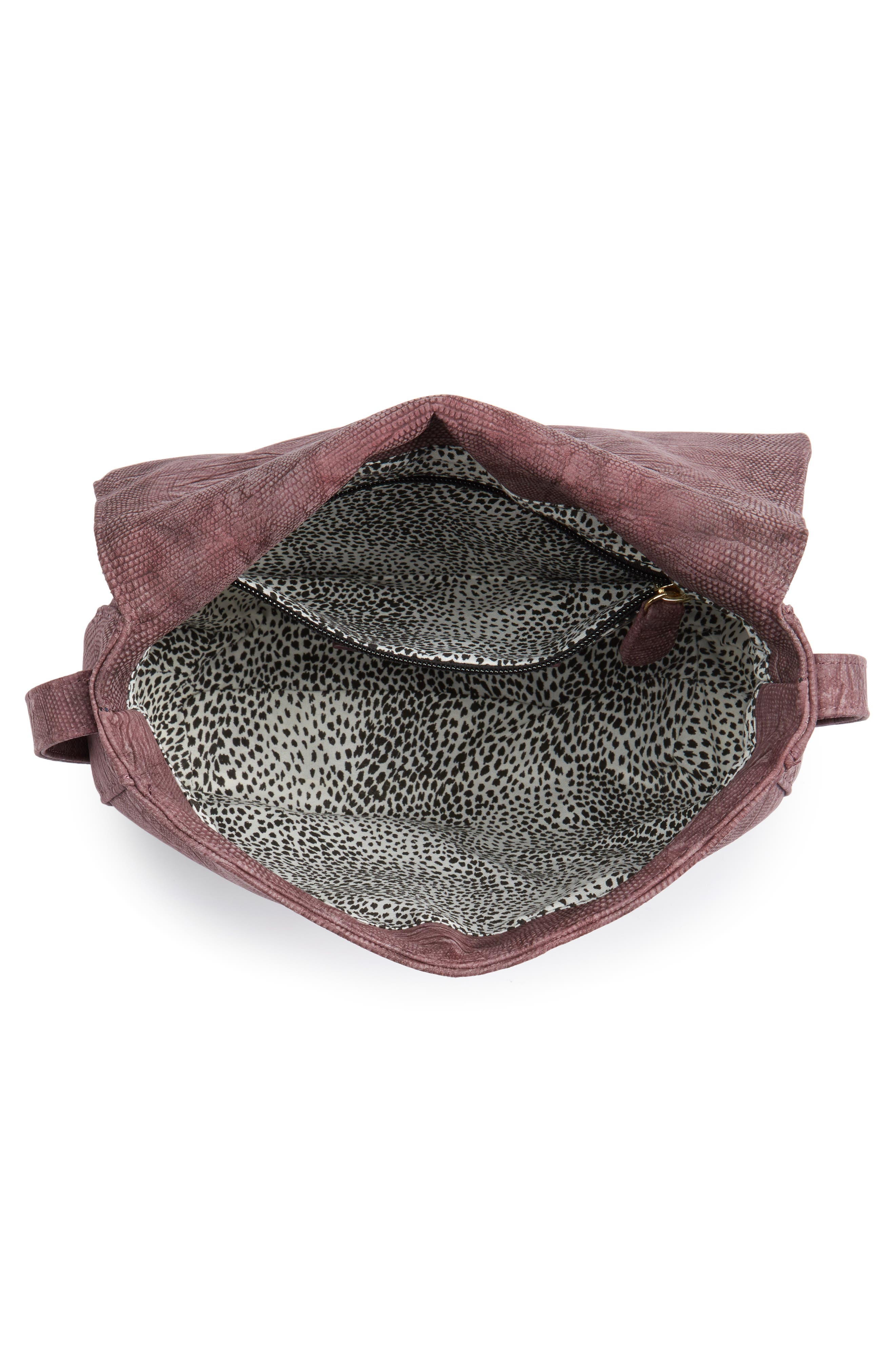 Livvy Faux Leather Crossbody Saddle Bag,                             Alternate thumbnail 4, color,                             Oxblood