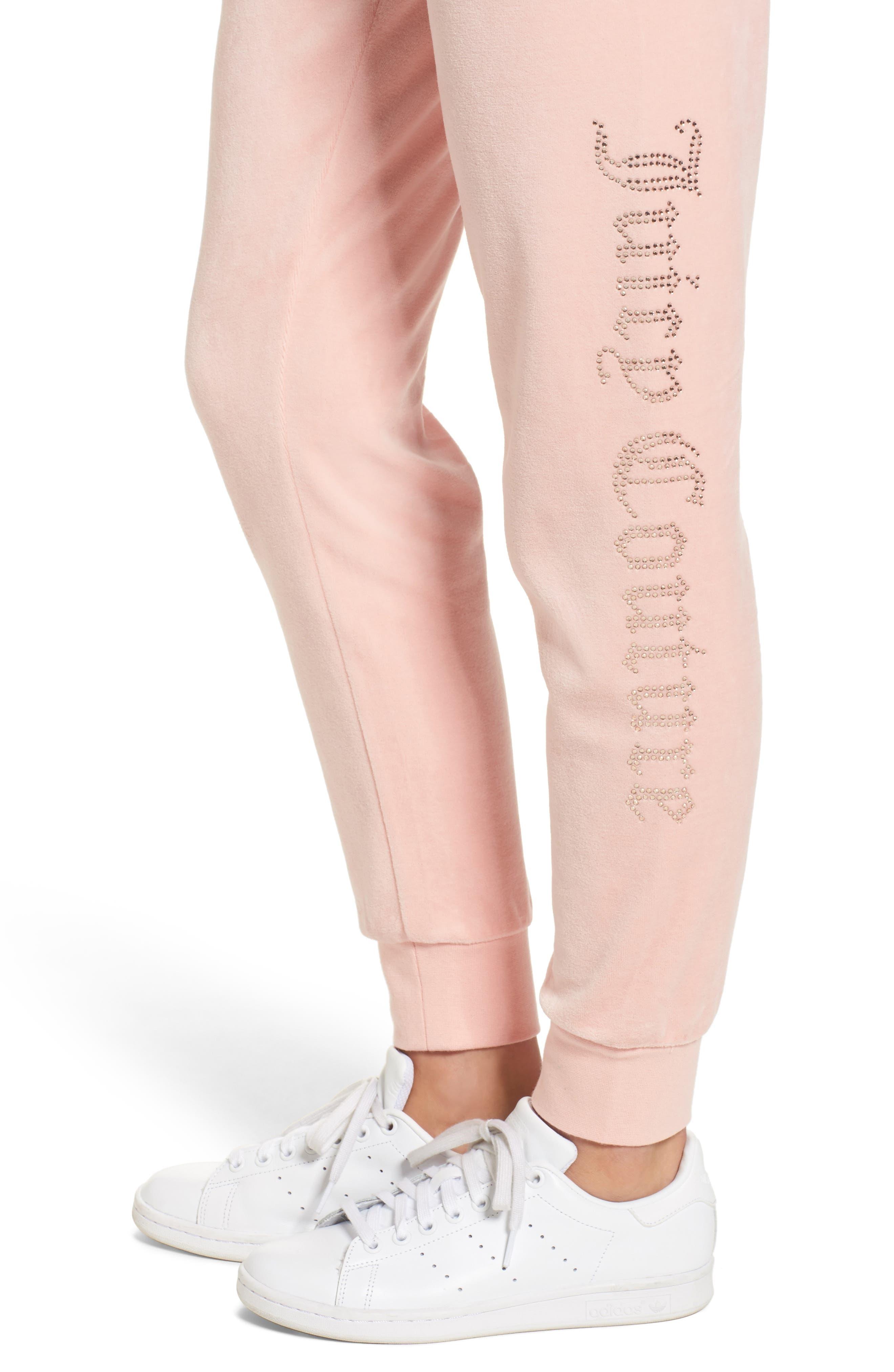Zuma Crystal Velour Pants,                             Alternate thumbnail 4, color,                             Sugared Icing