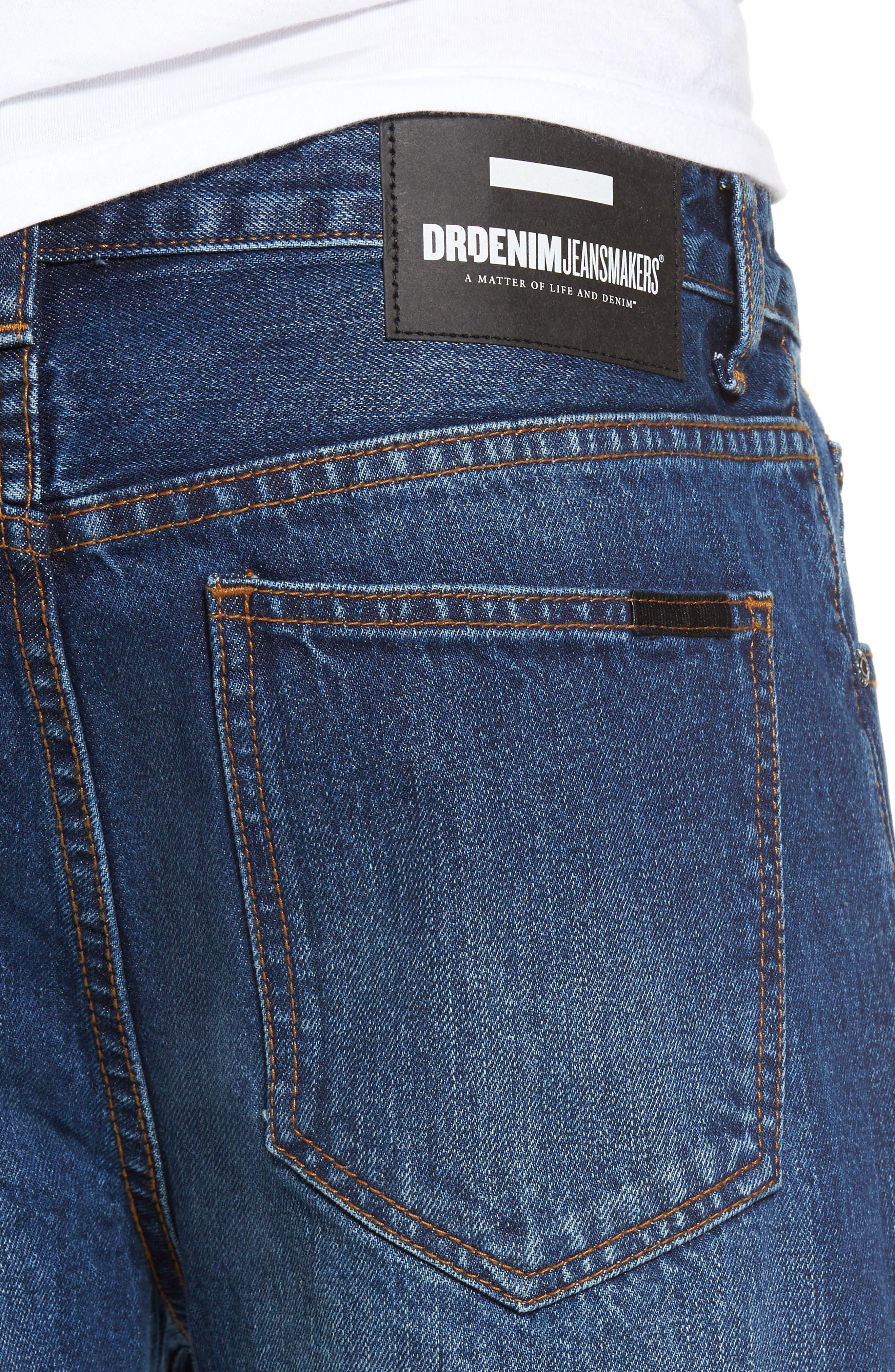 Otis Straight Fit Crop Jeans,                             Alternate thumbnail 4, color,                             Worn Mid Blue Raw Hem