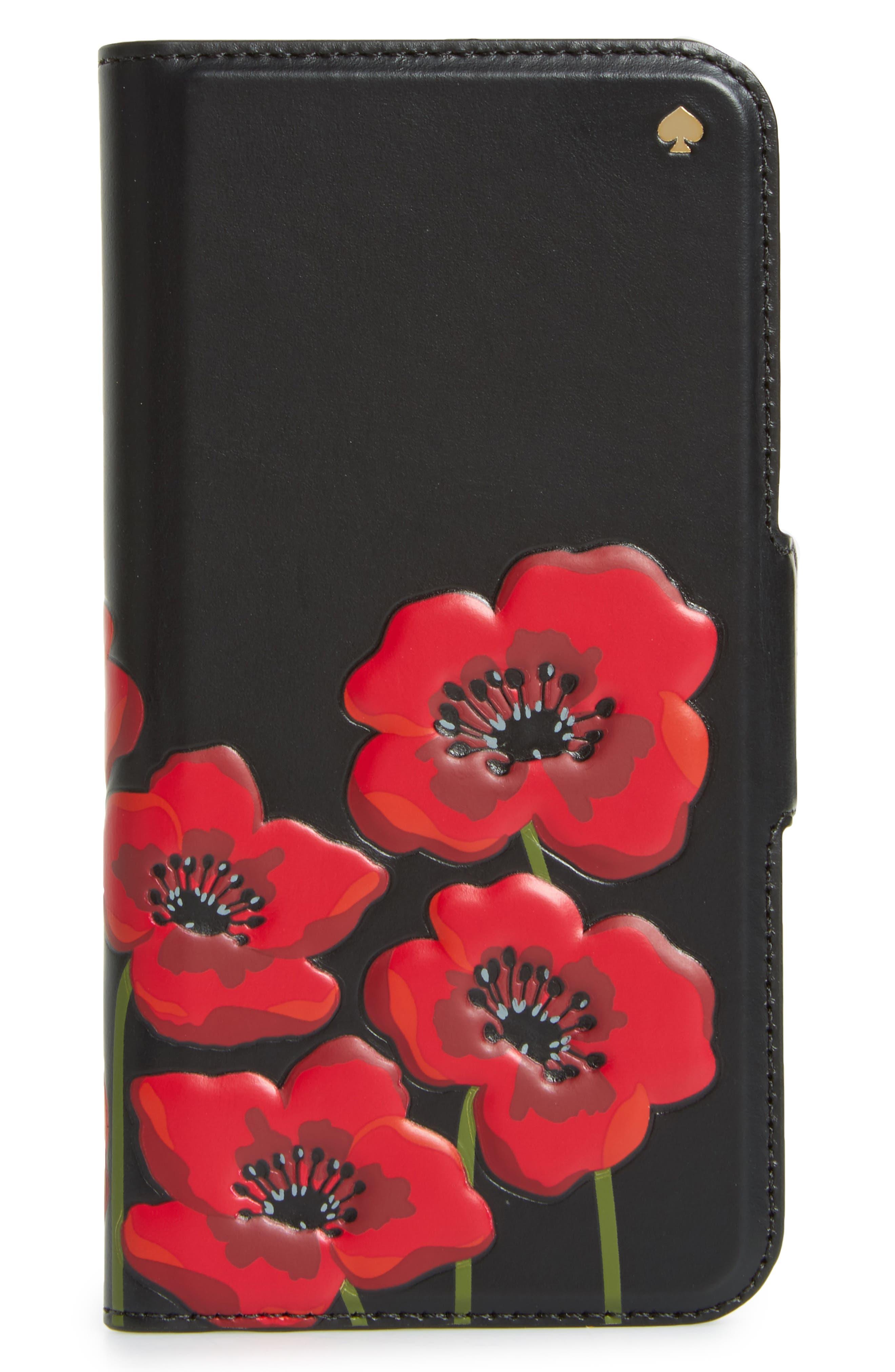 Main Image - kate spade new york poppy iPhone 7/8 & 7/8 Plus folio case