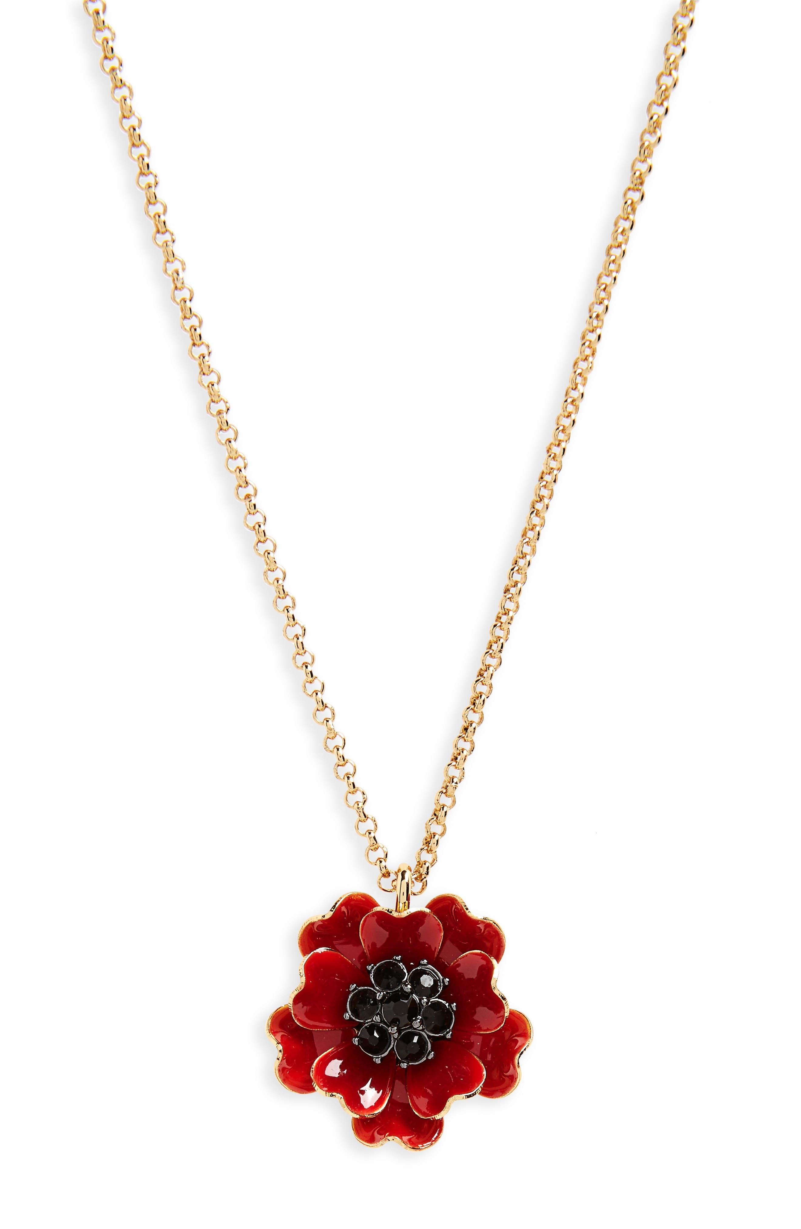 precious poppies pendant necklace,                         Main,                         color, Red Multi