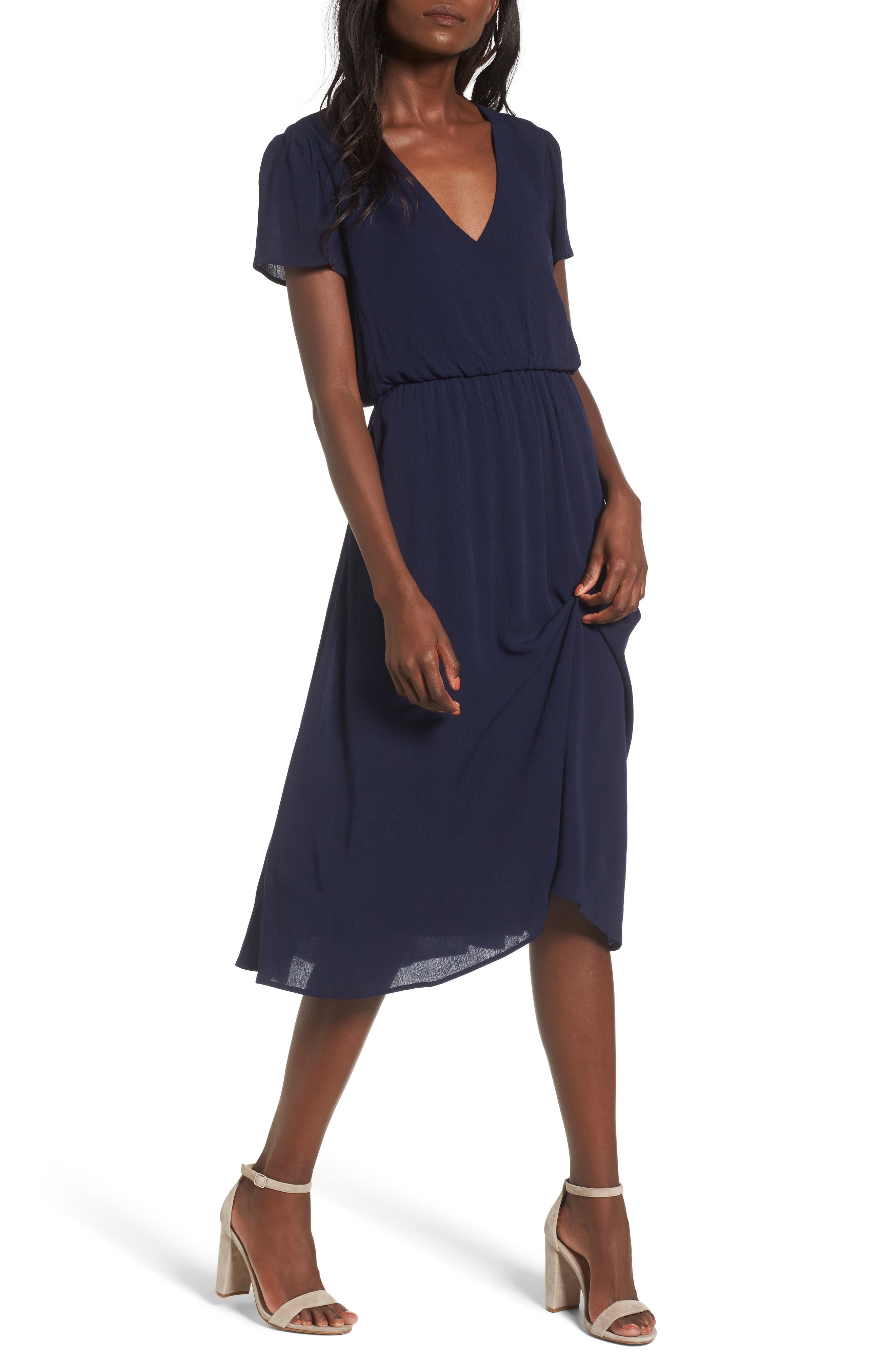 Blouson Midi Dress,                         Main,                         color, Navy