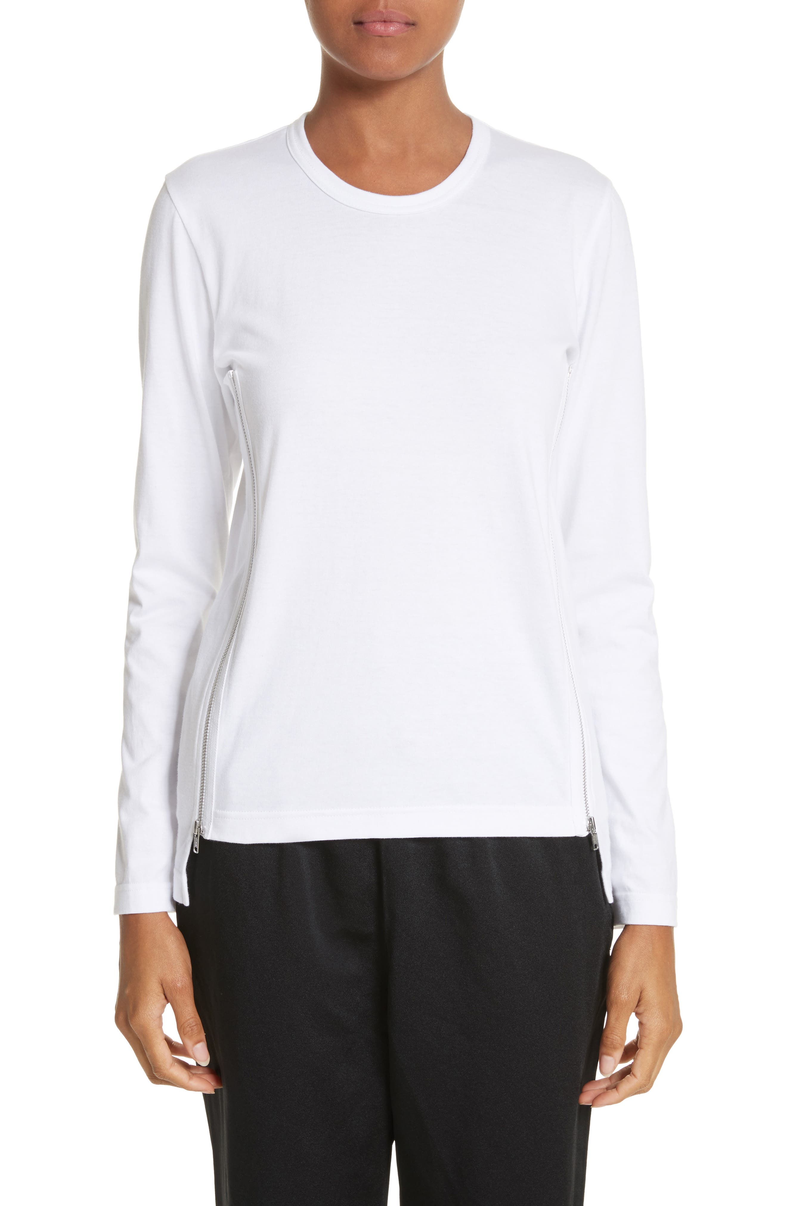 Side Zip Cotton Tee,                         Main,                         color, White