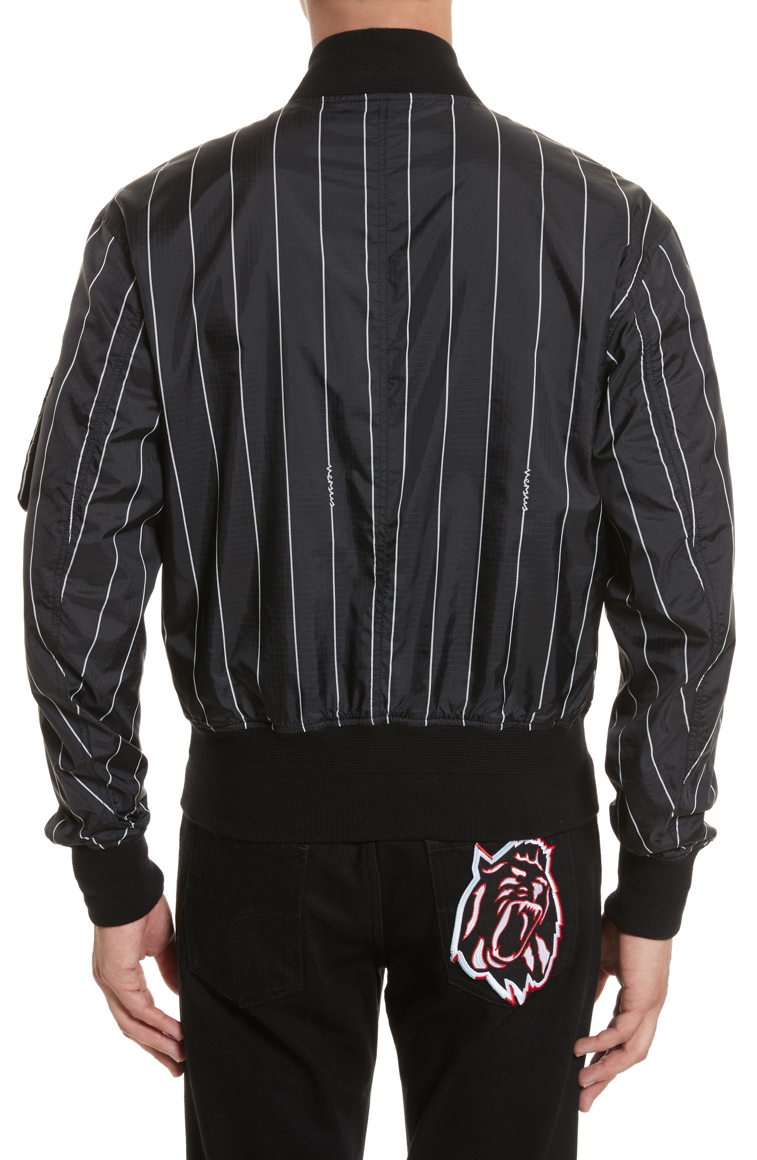VERSUS by Versace Reversible Pinstripe Bomber Jacket,                             Alternate thumbnail 2, color,                             Black