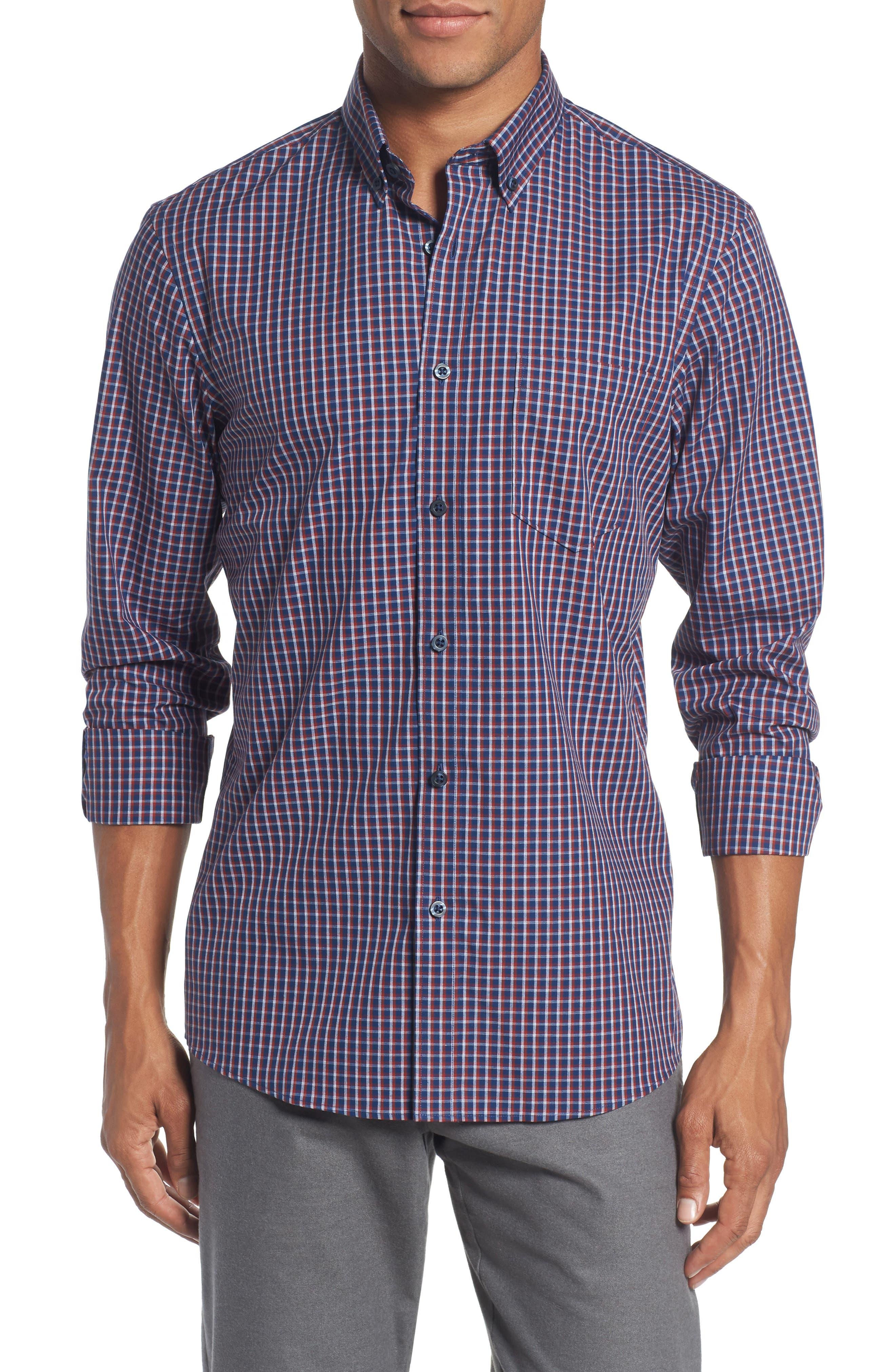 Slim Fit Non-Iron Mini Check Sport Shirt,                         Main,                         color, Blue Estate Rust Mini Check