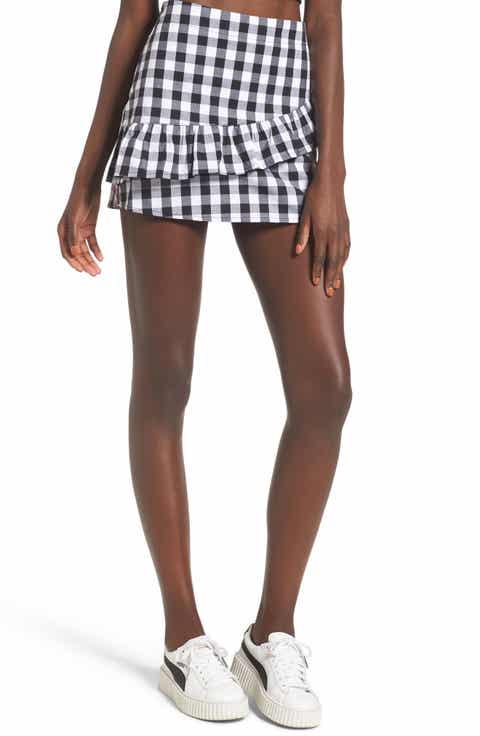 Love, Fire Ruffle Front Miniskirt