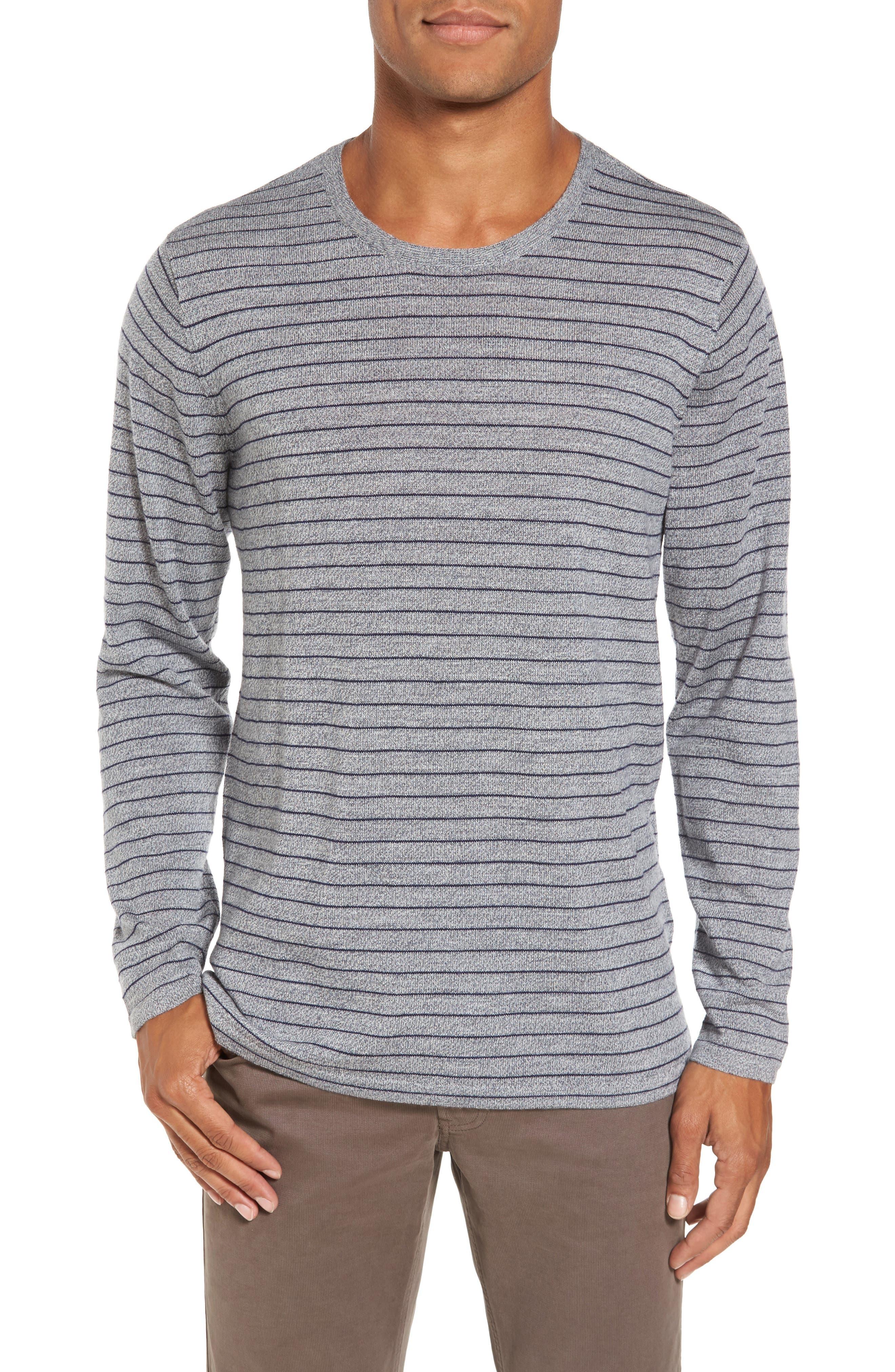 Nori Stripe Merino Wool T-Shirt,                             Main thumbnail 1, color,                             Heather Ink