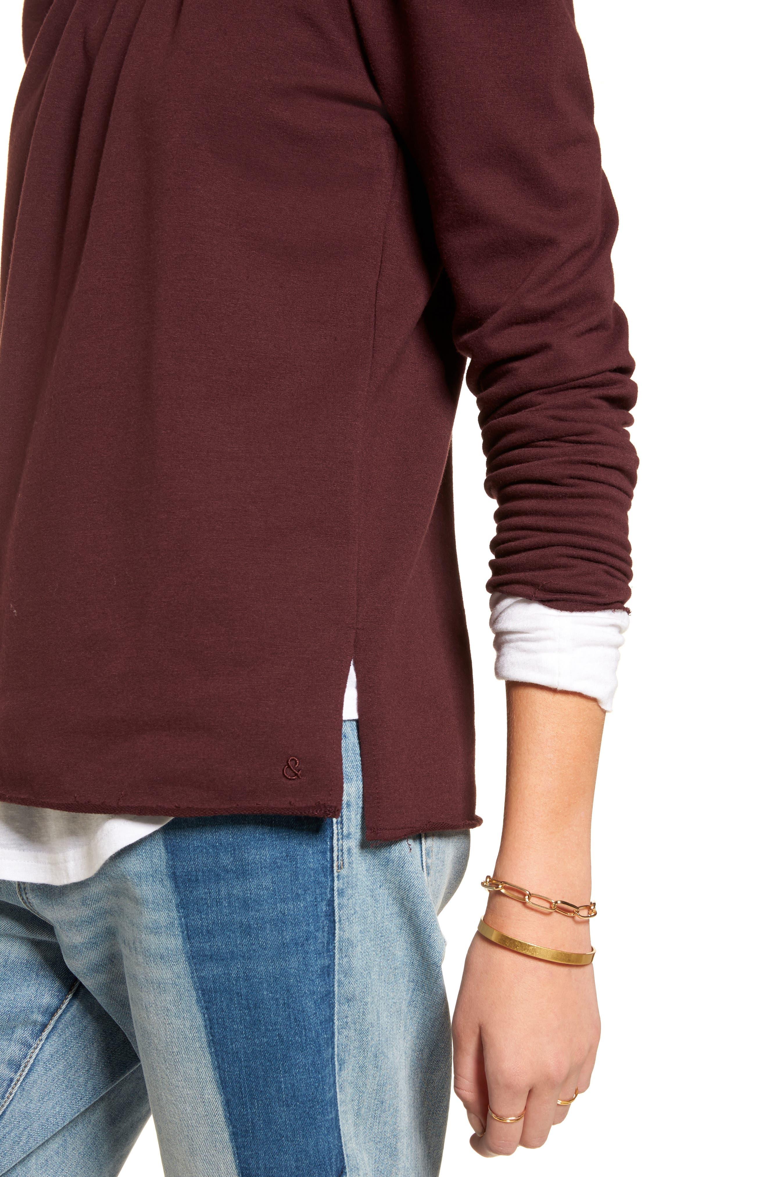 Pleated Knit Top,                             Alternate thumbnail 4, color,                             Burgundy Stem