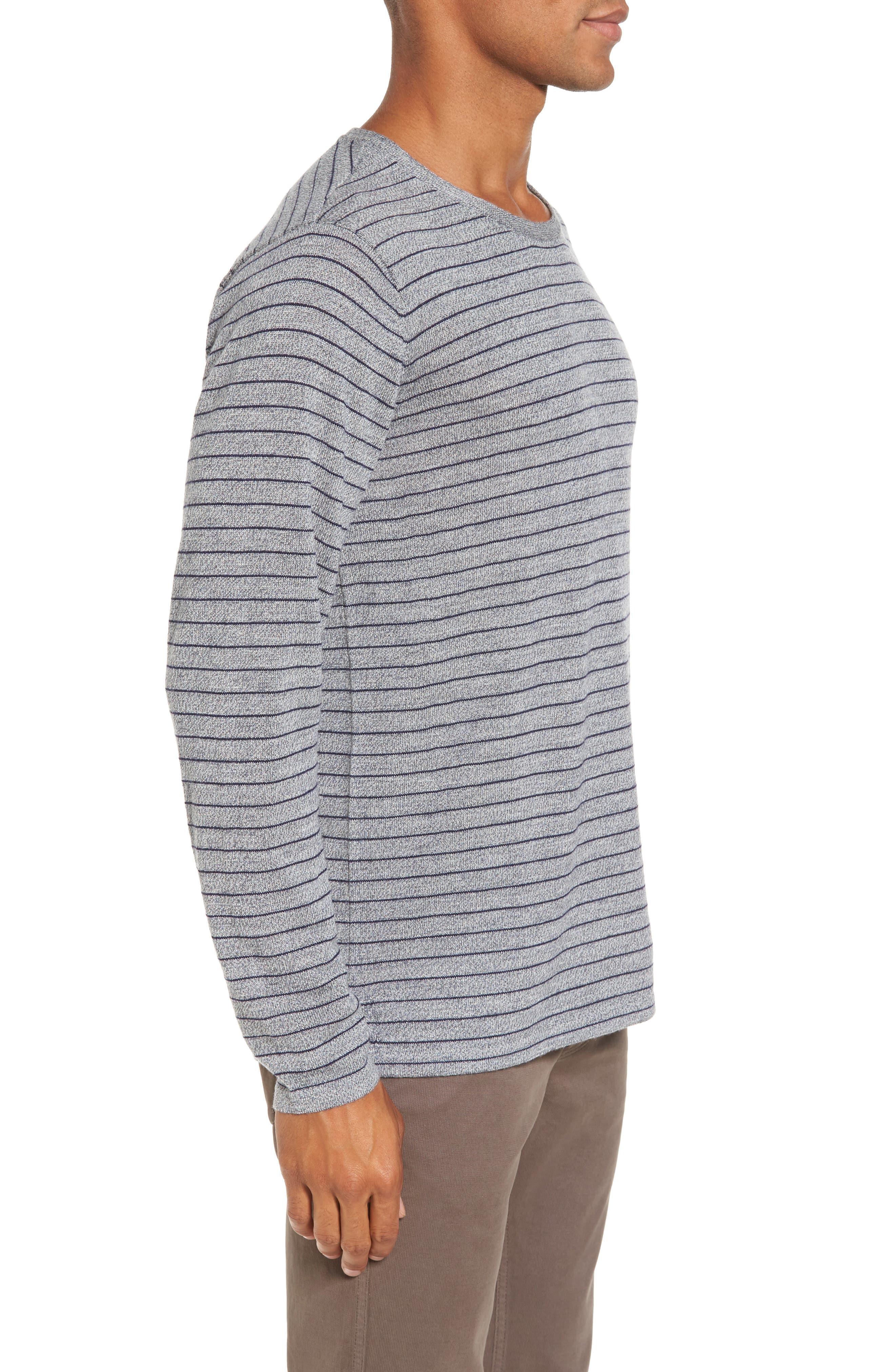 Nori Stripe Merino Wool T-Shirt,                             Alternate thumbnail 3, color,                             Heather Ink
