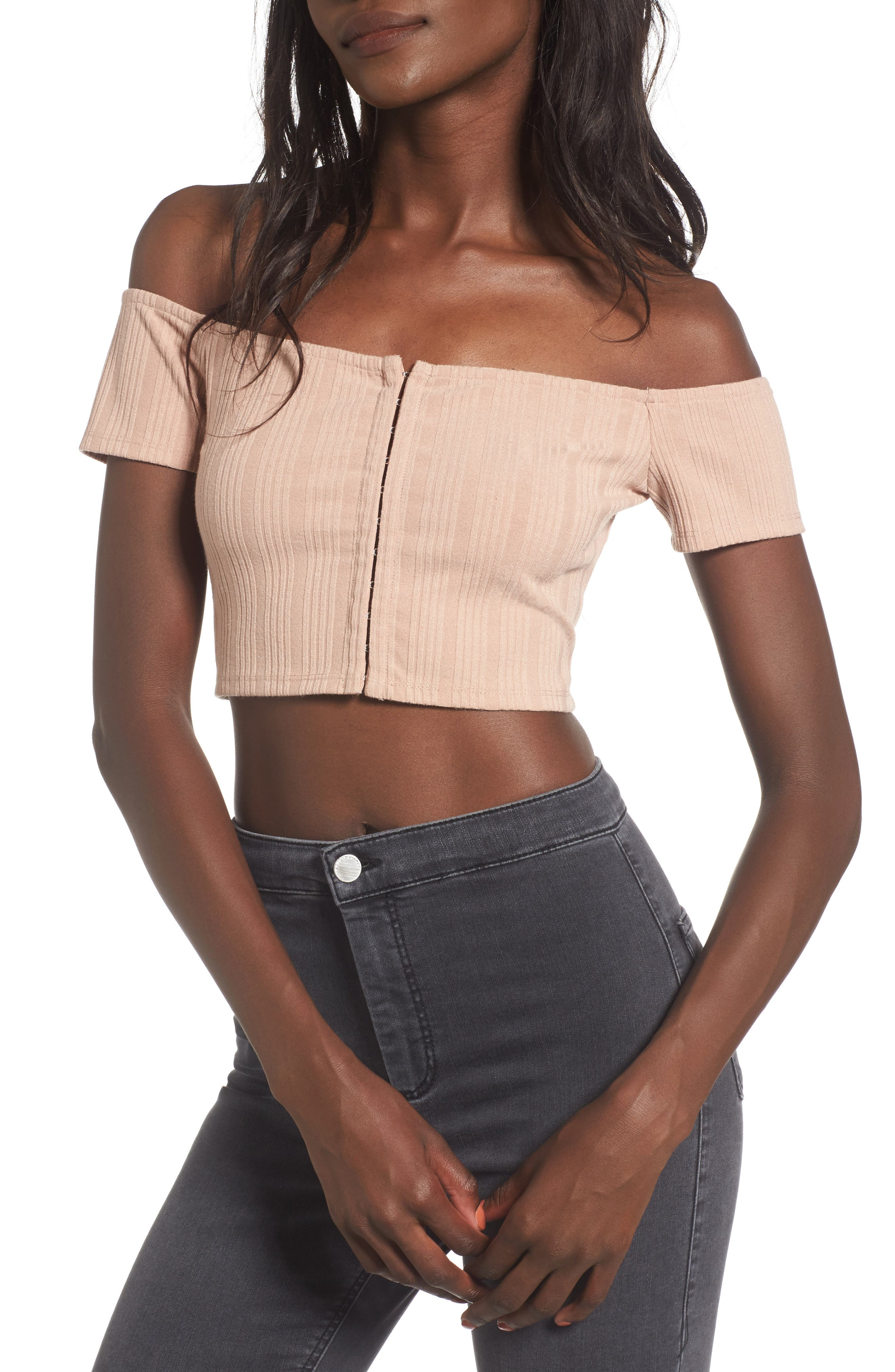 Lenda Off the Shoulder Crop Top,                         Main,                         color, Nude