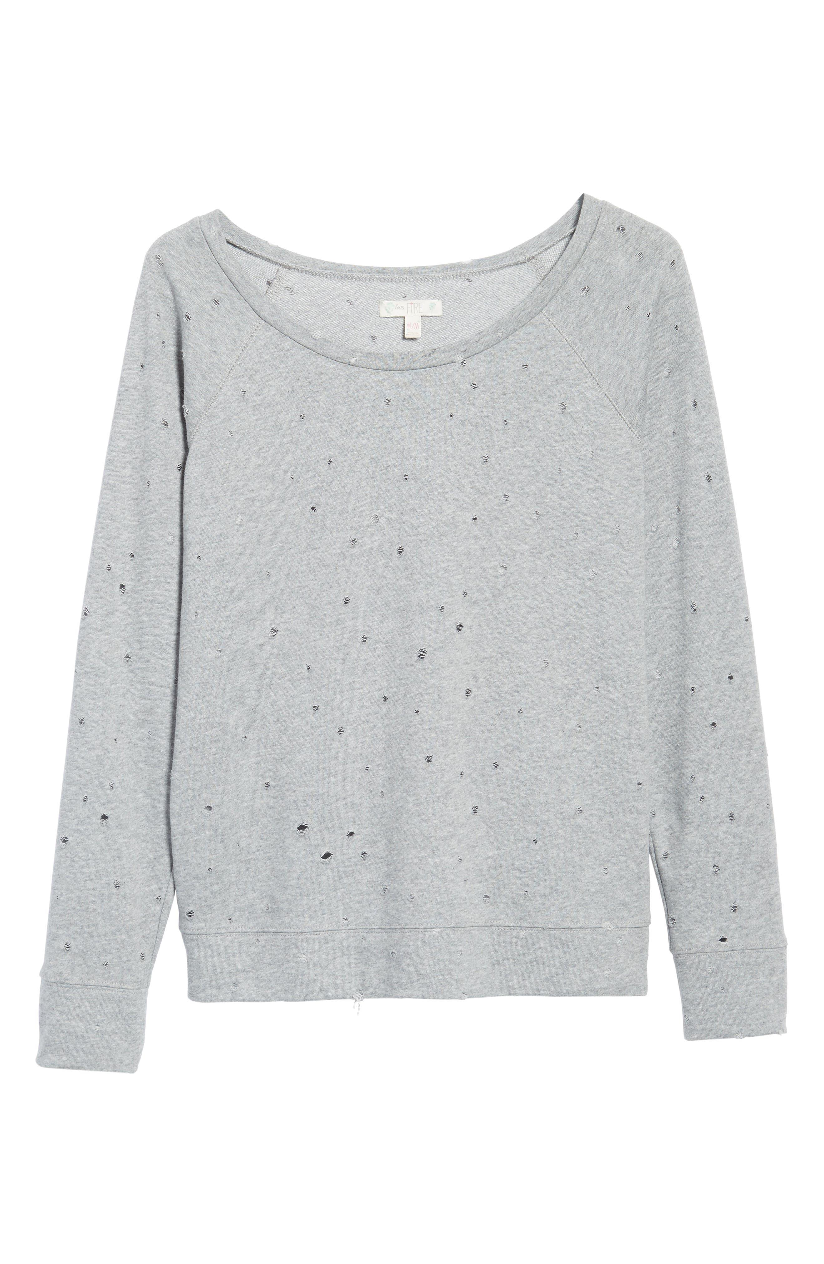 Alternate Image 6  - Love, Fire Holey Sweatshirt