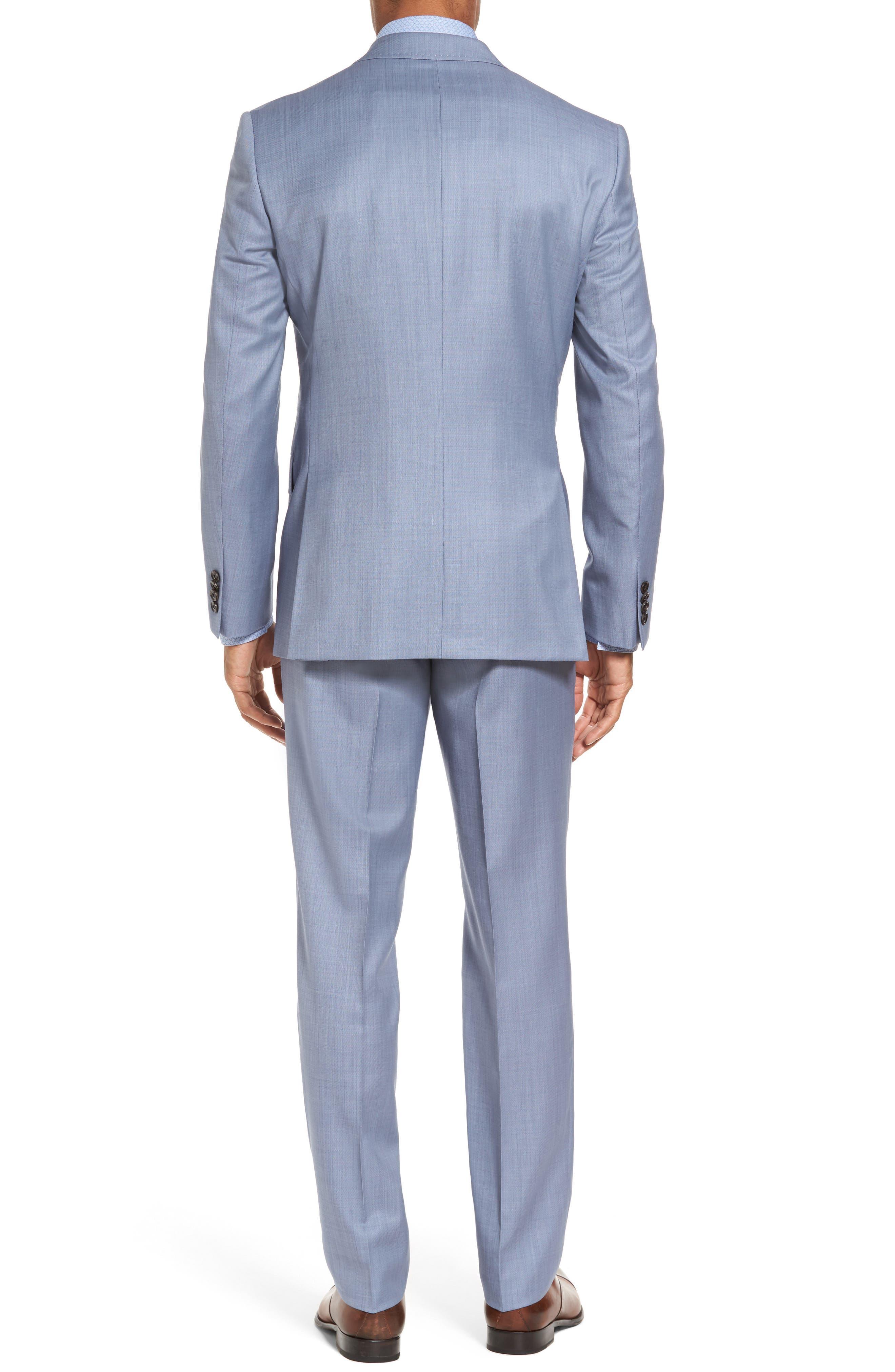 Trim Fit Solid Wool Suit,                             Alternate thumbnail 2, color,                             Light Blue