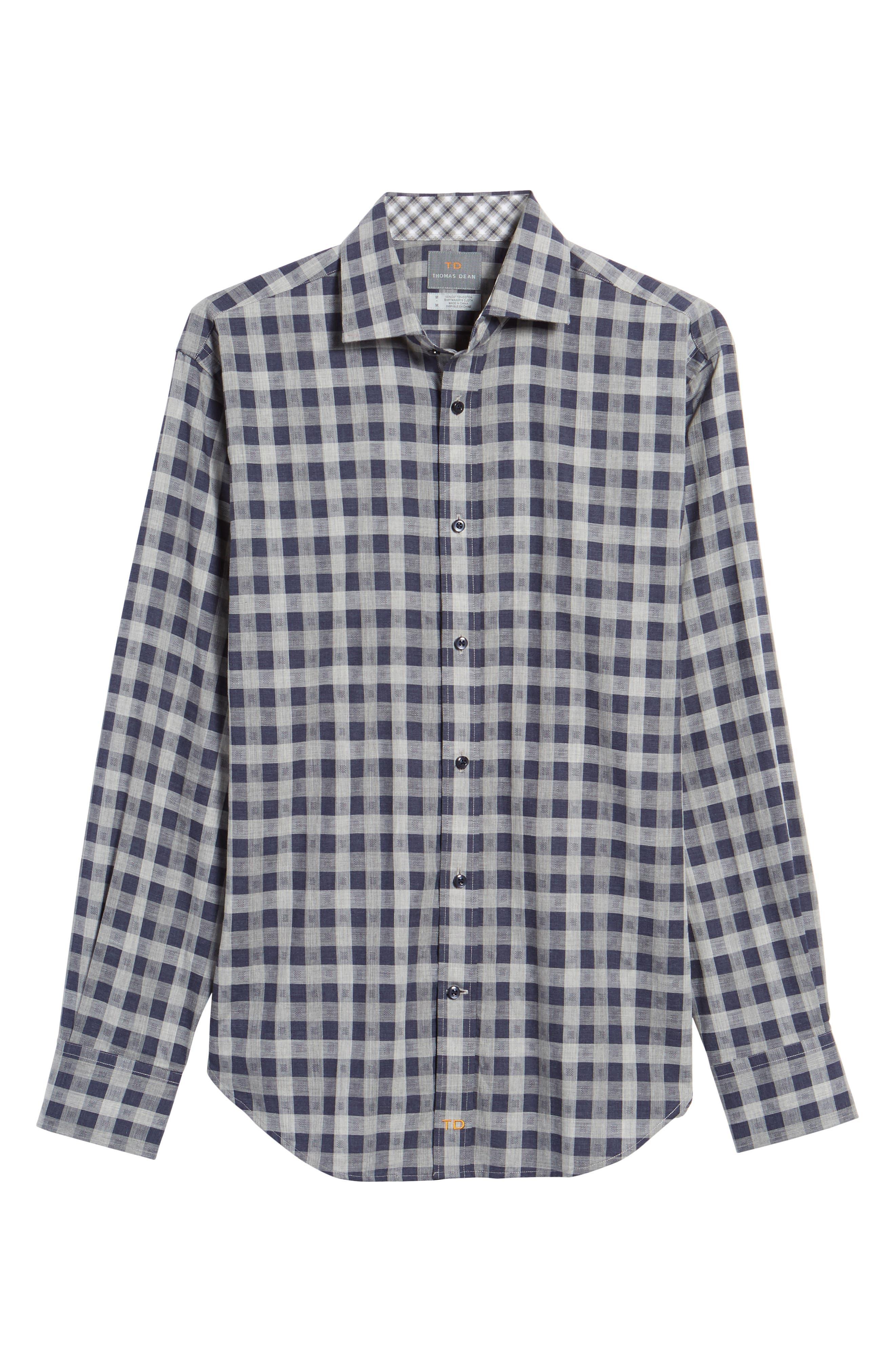 Regular Fit Check Sport Shirt,                             Alternate thumbnail 6, color,                             Navy
