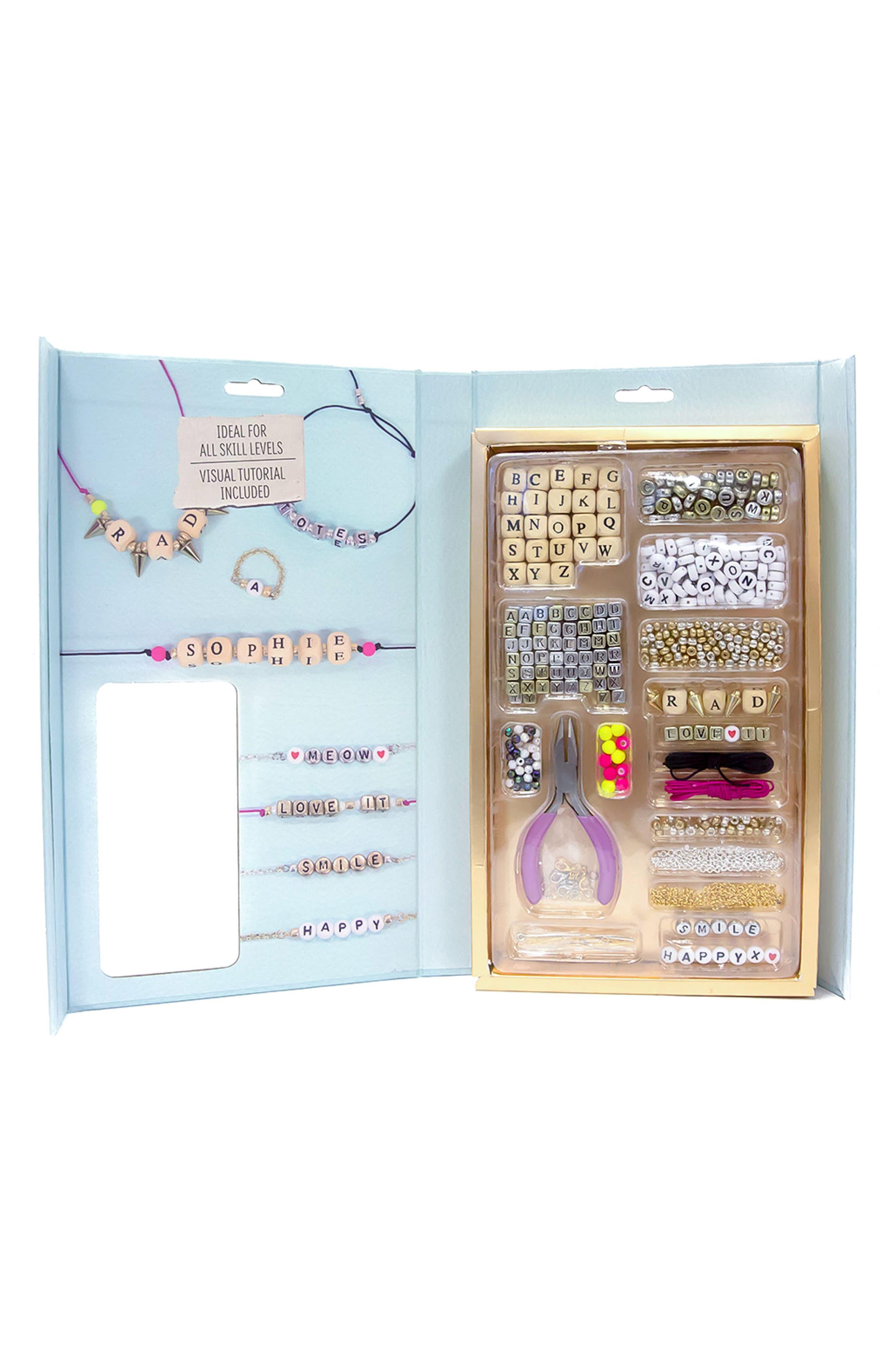 DIY Alphabet Jewelry Kit,                             Alternate thumbnail 3, color,                             Blue Multi