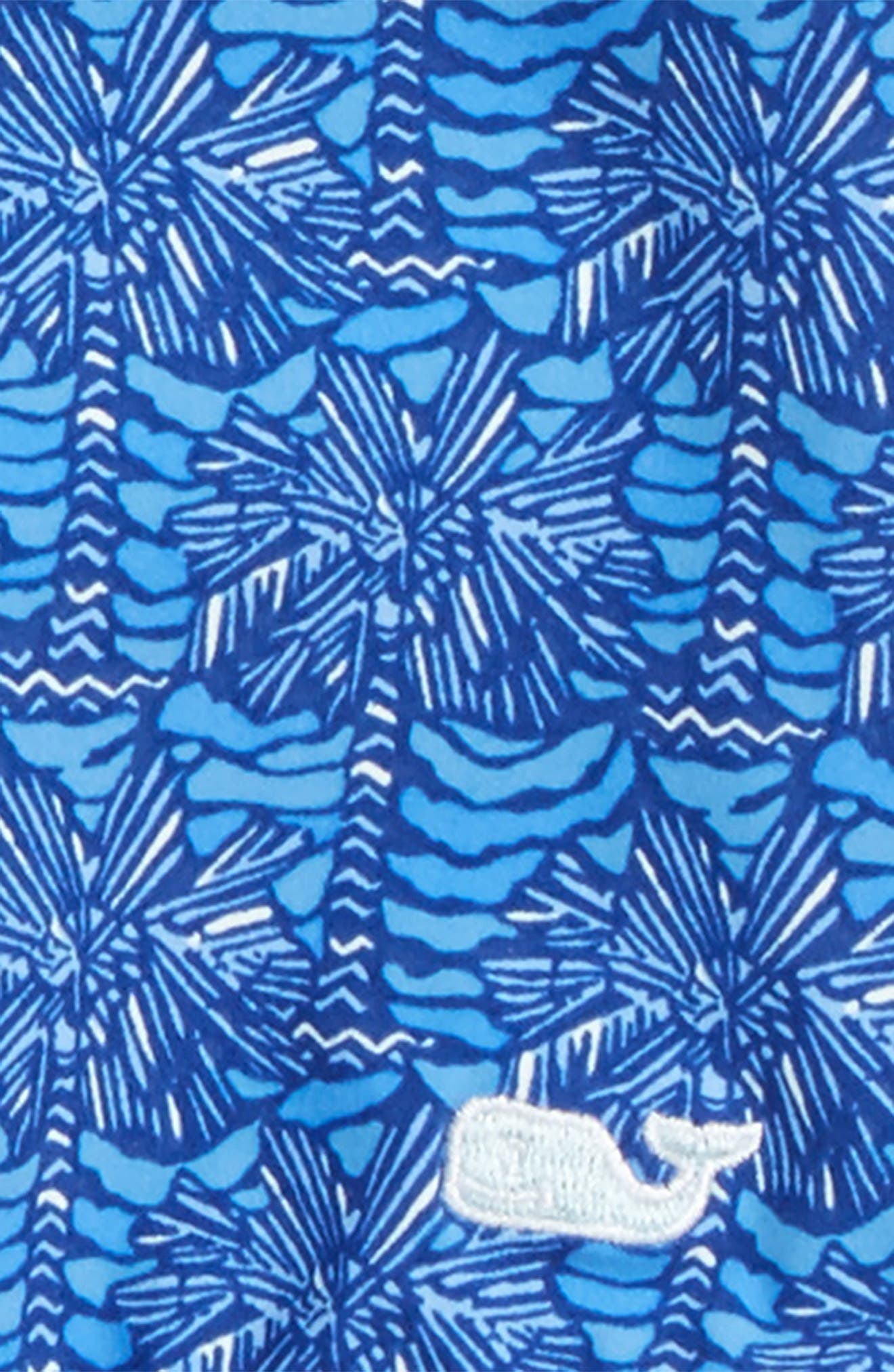 Palmetto Print One-Piece Swimsuit,                             Alternate thumbnail 3, color,                             Royal Ocean