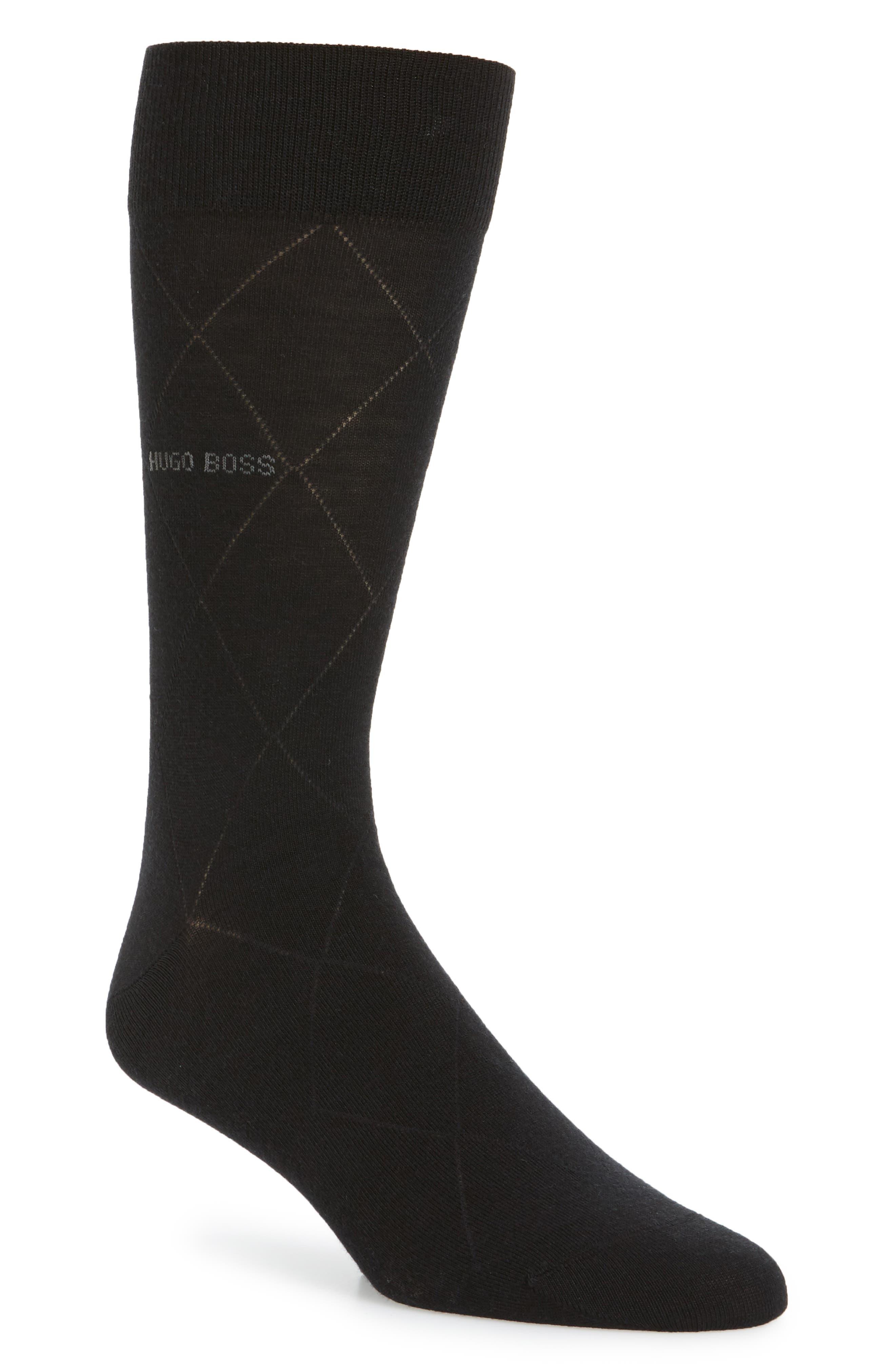 Argyle Crew Socks,                         Main,                         color, Black
