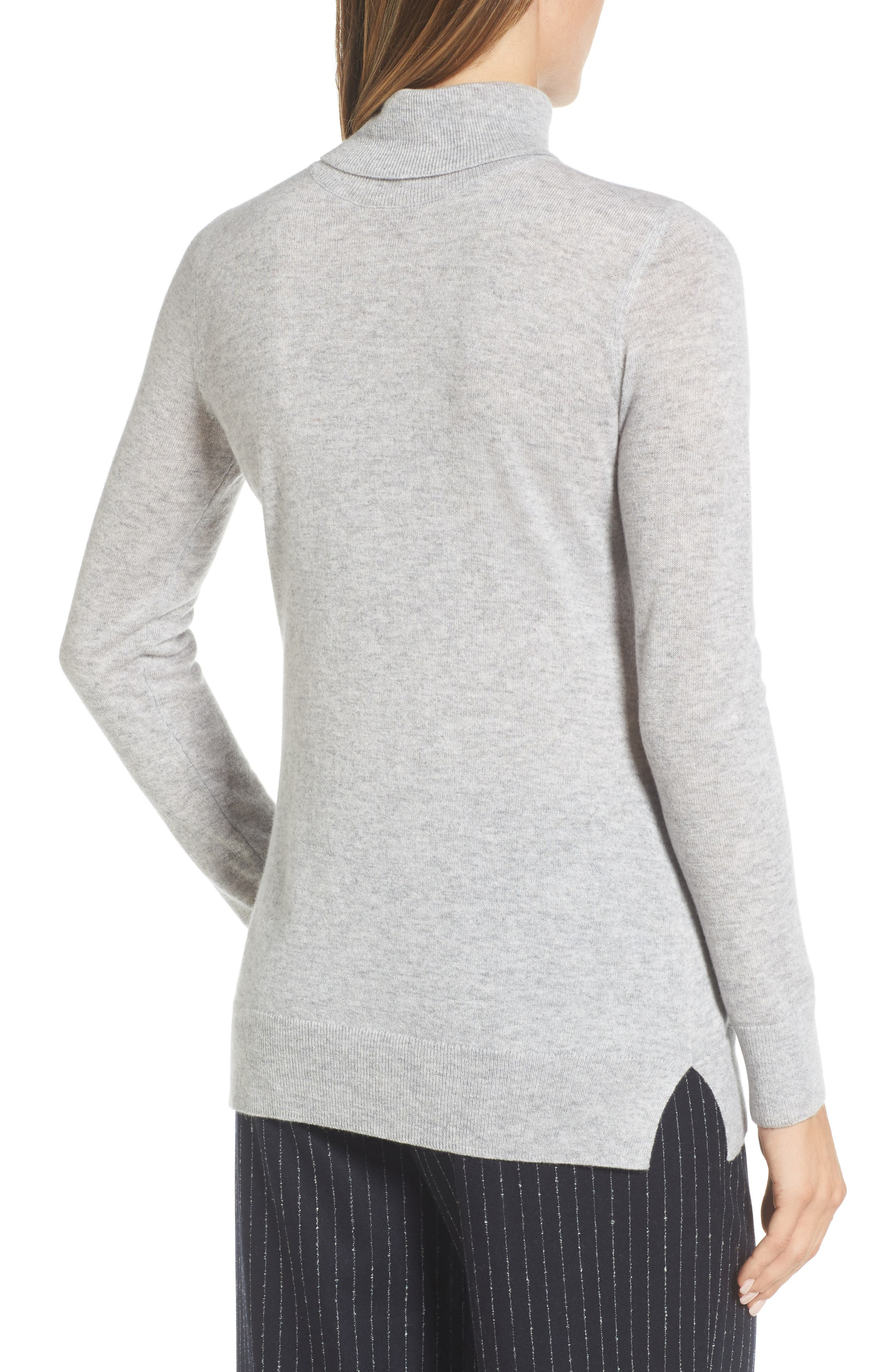 Turtleneck Cashmere Sweater,                             Alternate thumbnail 2, color,                             Grey Clay Heather