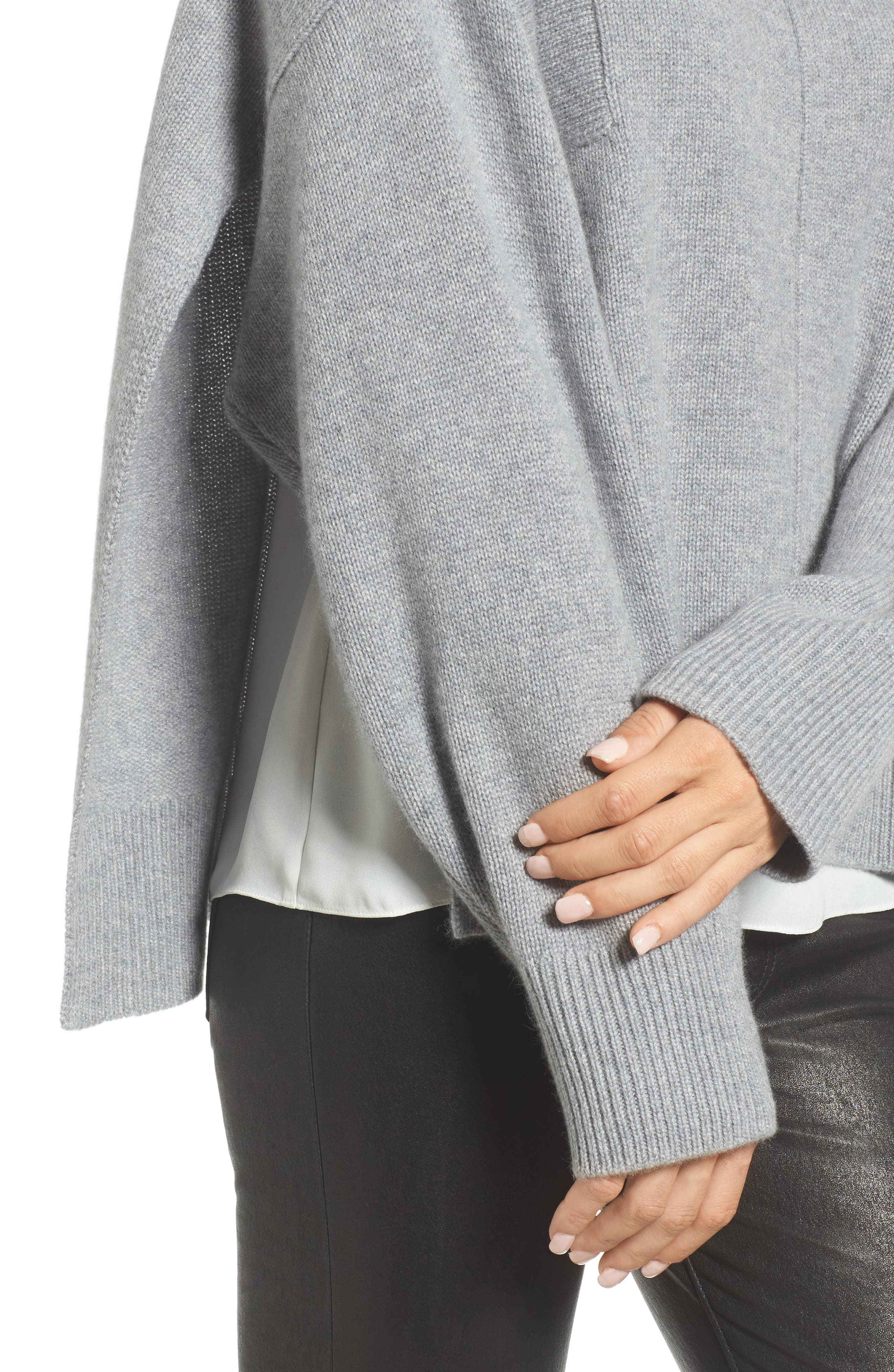 Side Slit Cashmere Sweater,                             Alternate thumbnail 4, color,                             Grey Filigree Heather