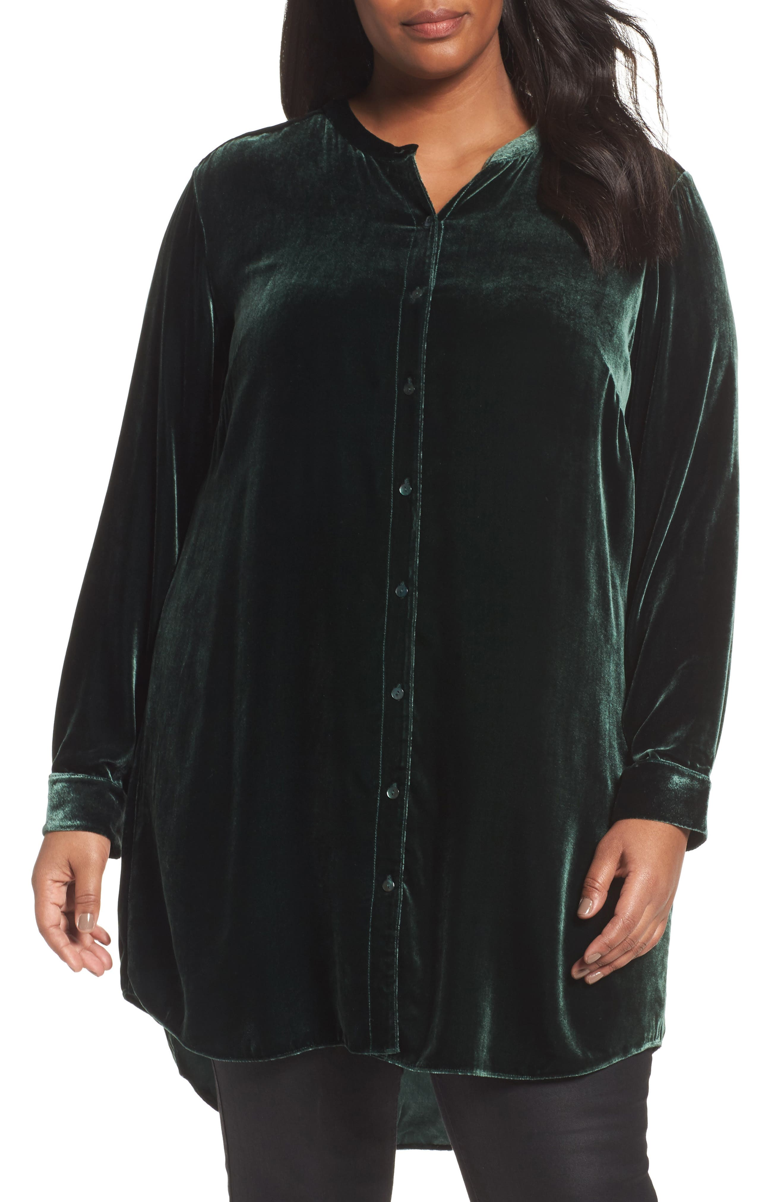 Eileen Fisher Long Velvet Shirt (Plus Size)