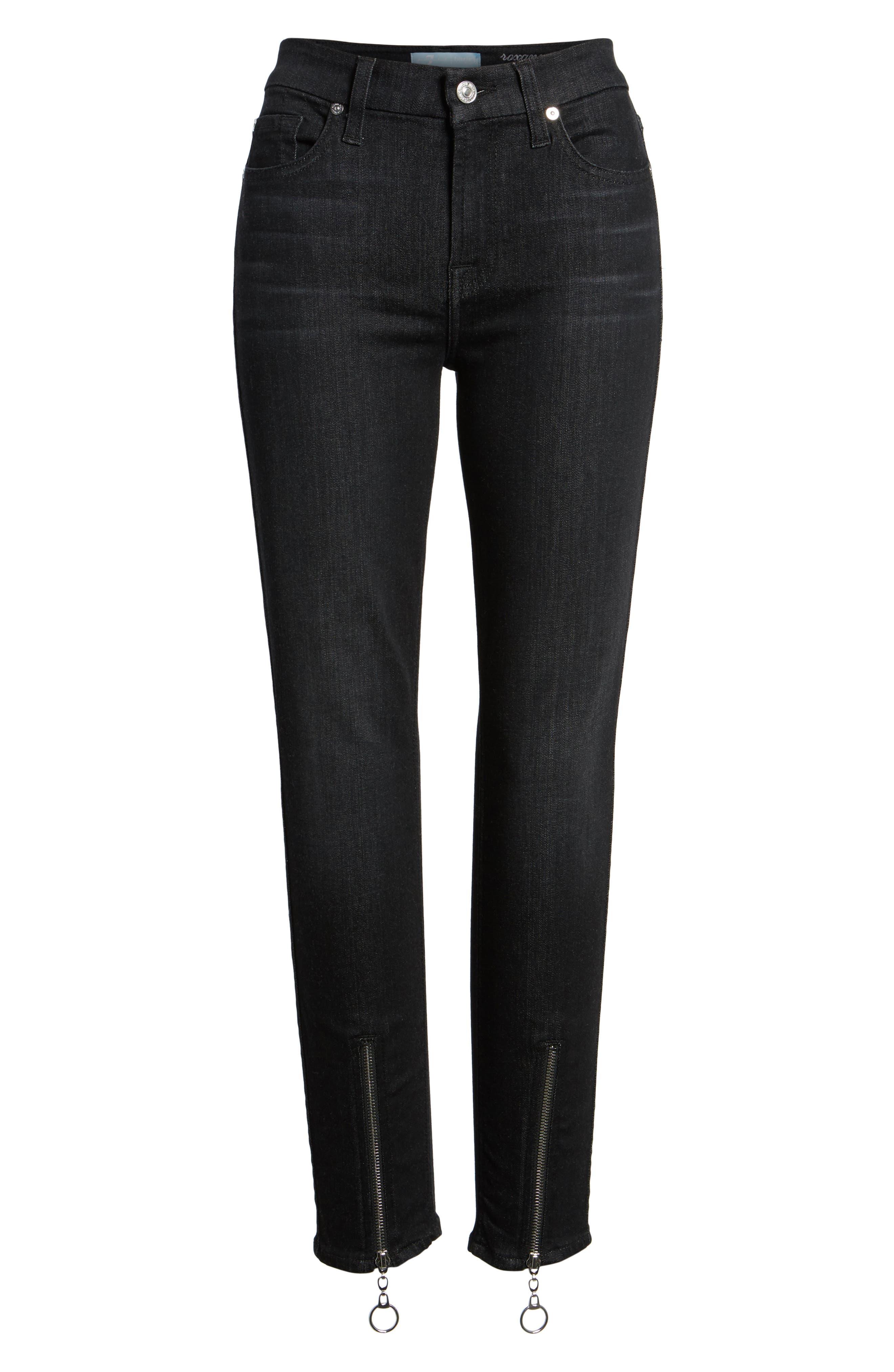 b(air) - Roxanne Ankle Zip Jeans,                             Alternate thumbnail 6, color,                             Bair Noir