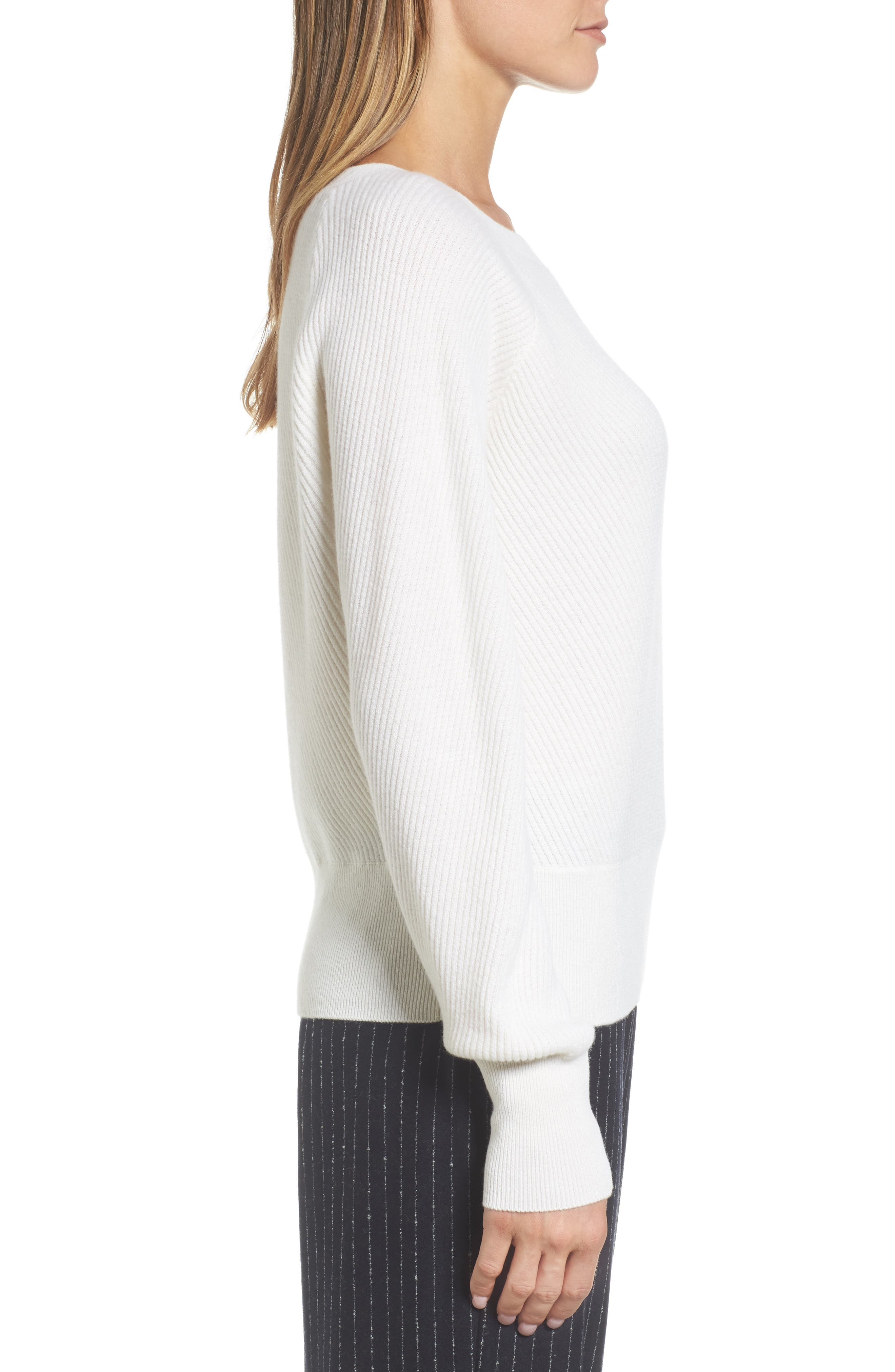 Diagonal Ribbed Cashmere Sweater,                             Alternate thumbnail 3, color,                             Ivory Soft