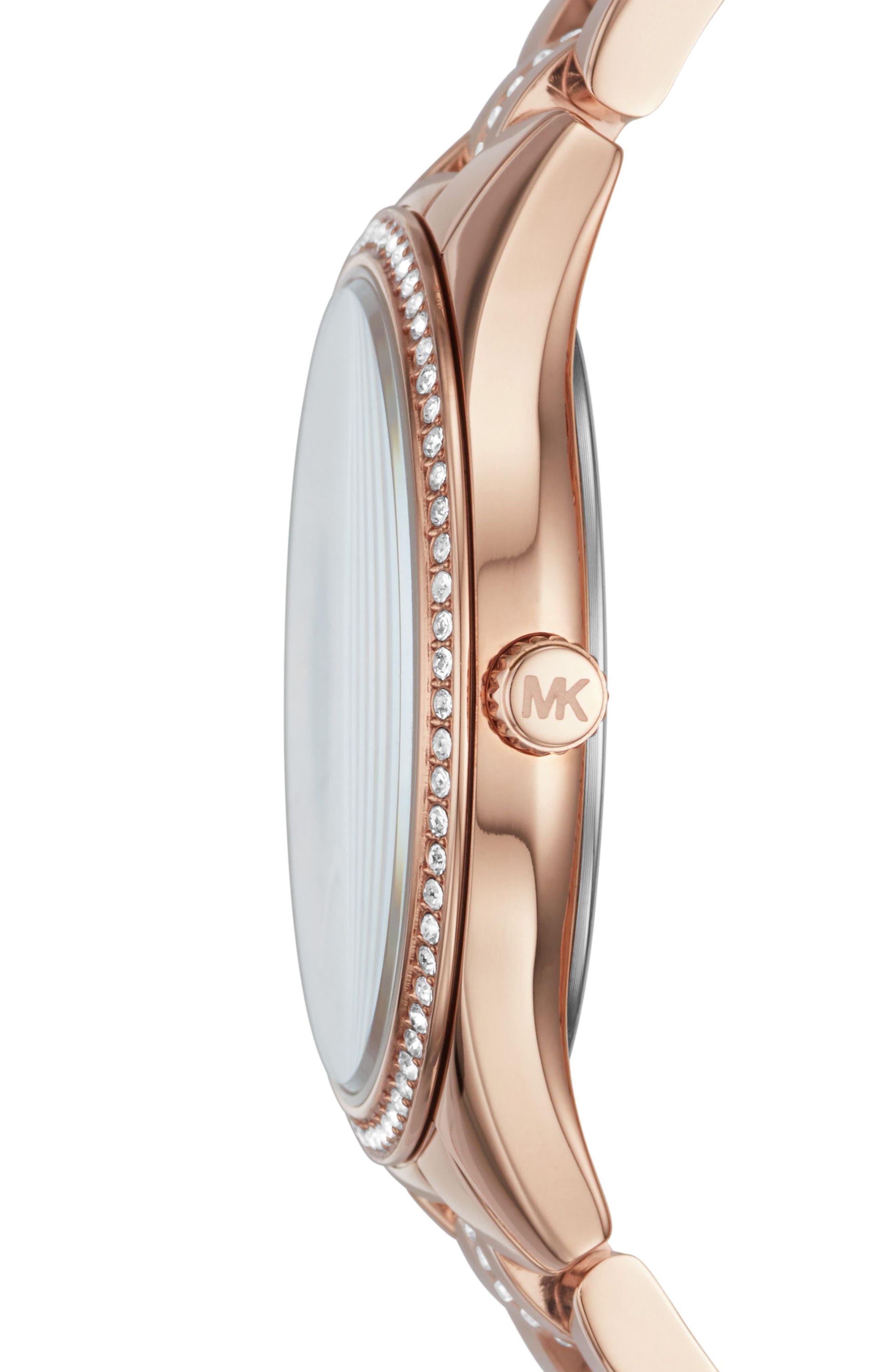 Lauryn Crystal Bracelet Watch, 33mm,                             Alternate thumbnail 2, color,                             Rose Gold/ White/ Rose Gold