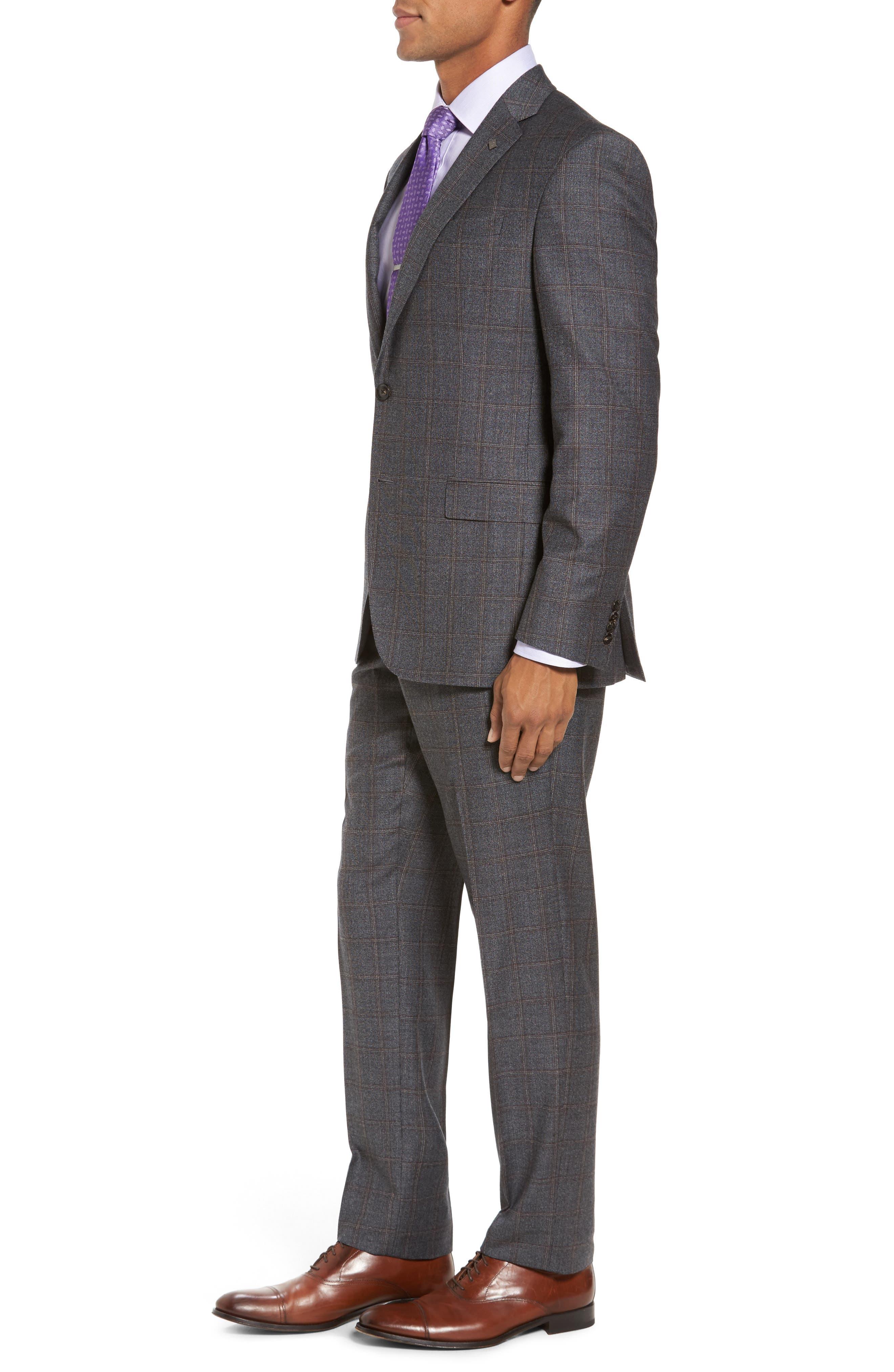 Trim Fit Plaid Wool Suit,                             Alternate thumbnail 3, color,                             Grey
