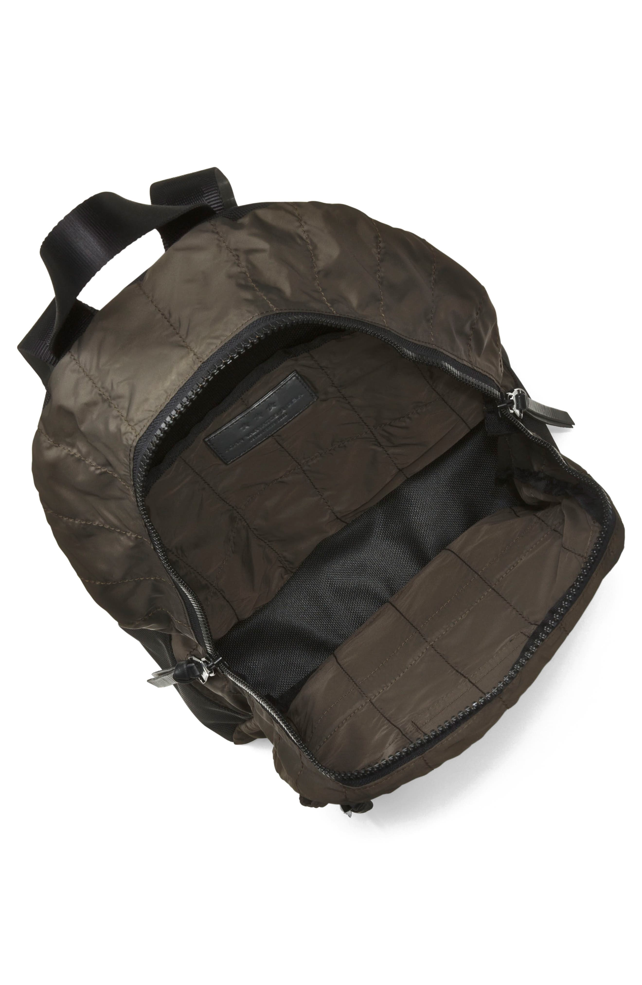 Quilted Nylon Backpack,                             Alternate thumbnail 3, color,                             Army Green