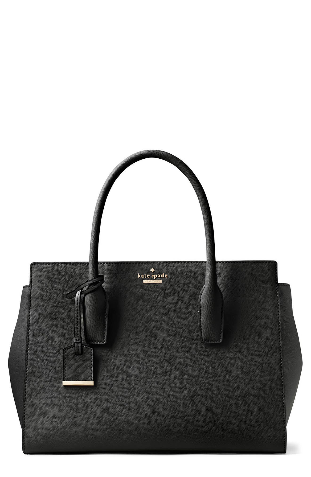 make it mine - candace leather satchel,                             Main thumbnail 1, color,                             Black