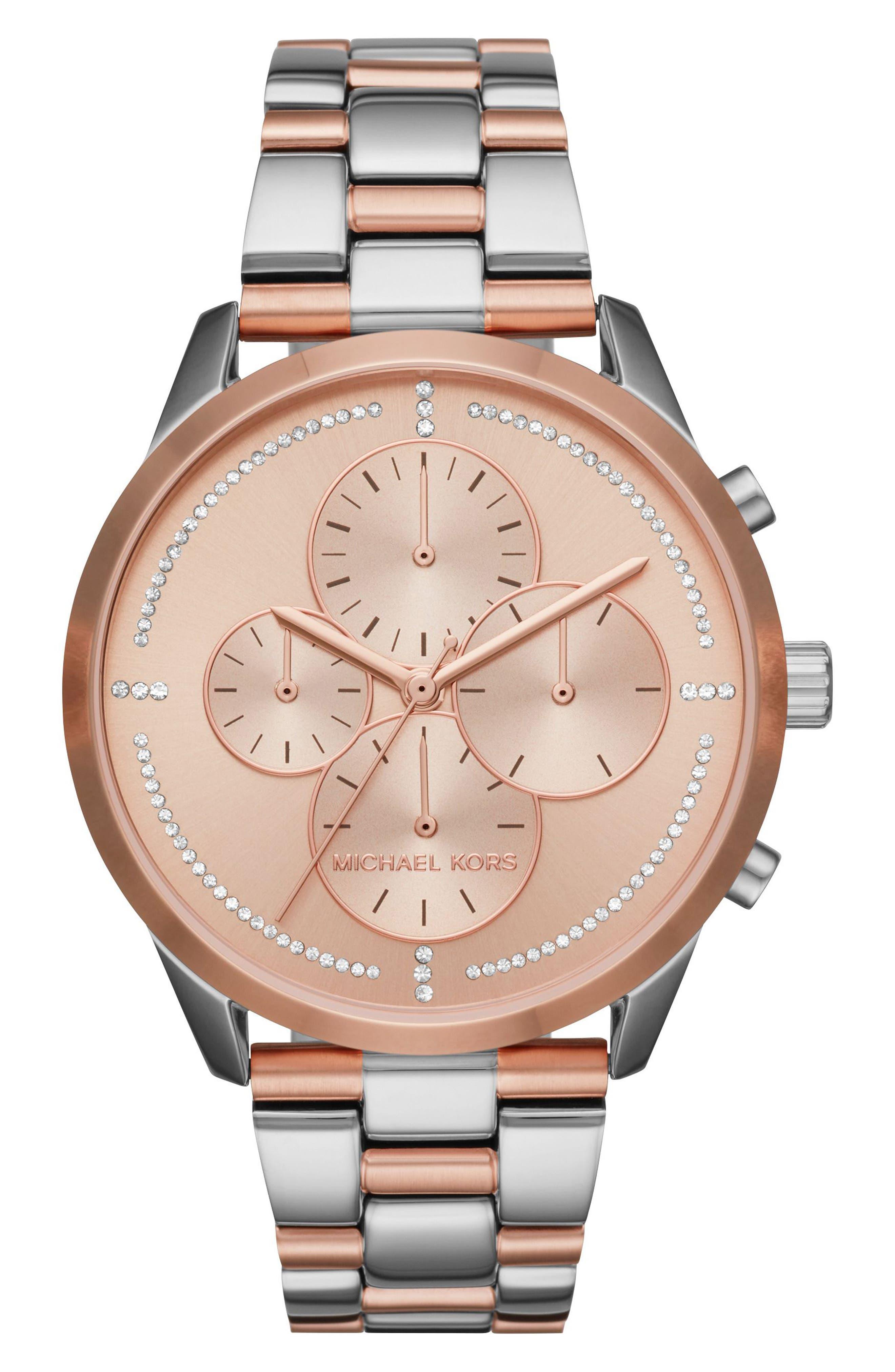 Slater Chronograph Bracelet Watch, 40mm,                         Main,                         color, Silver/ Rose Gold