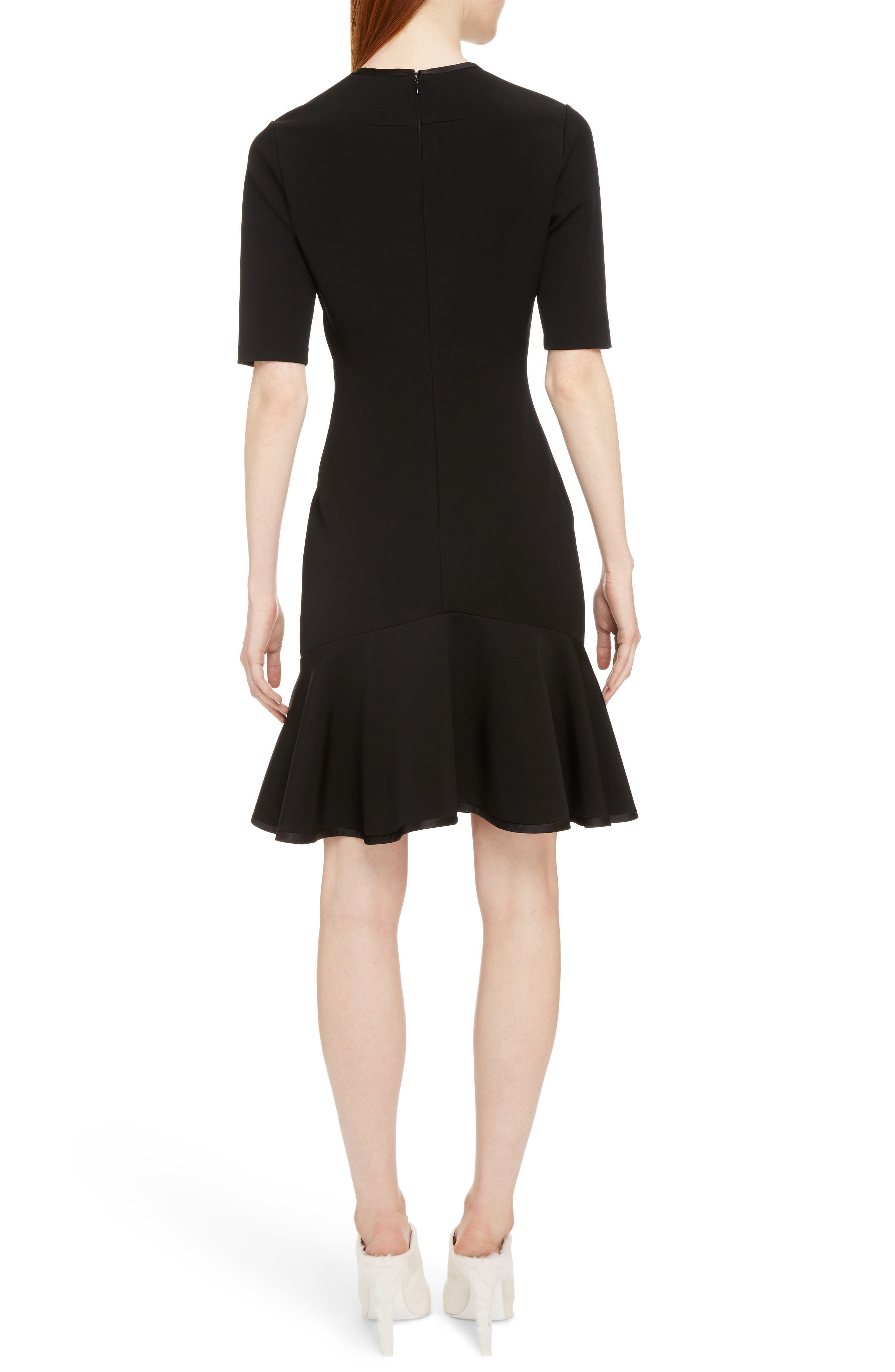 Split Neck Punto Milano Dress,                             Alternate thumbnail 2, color,                             Black