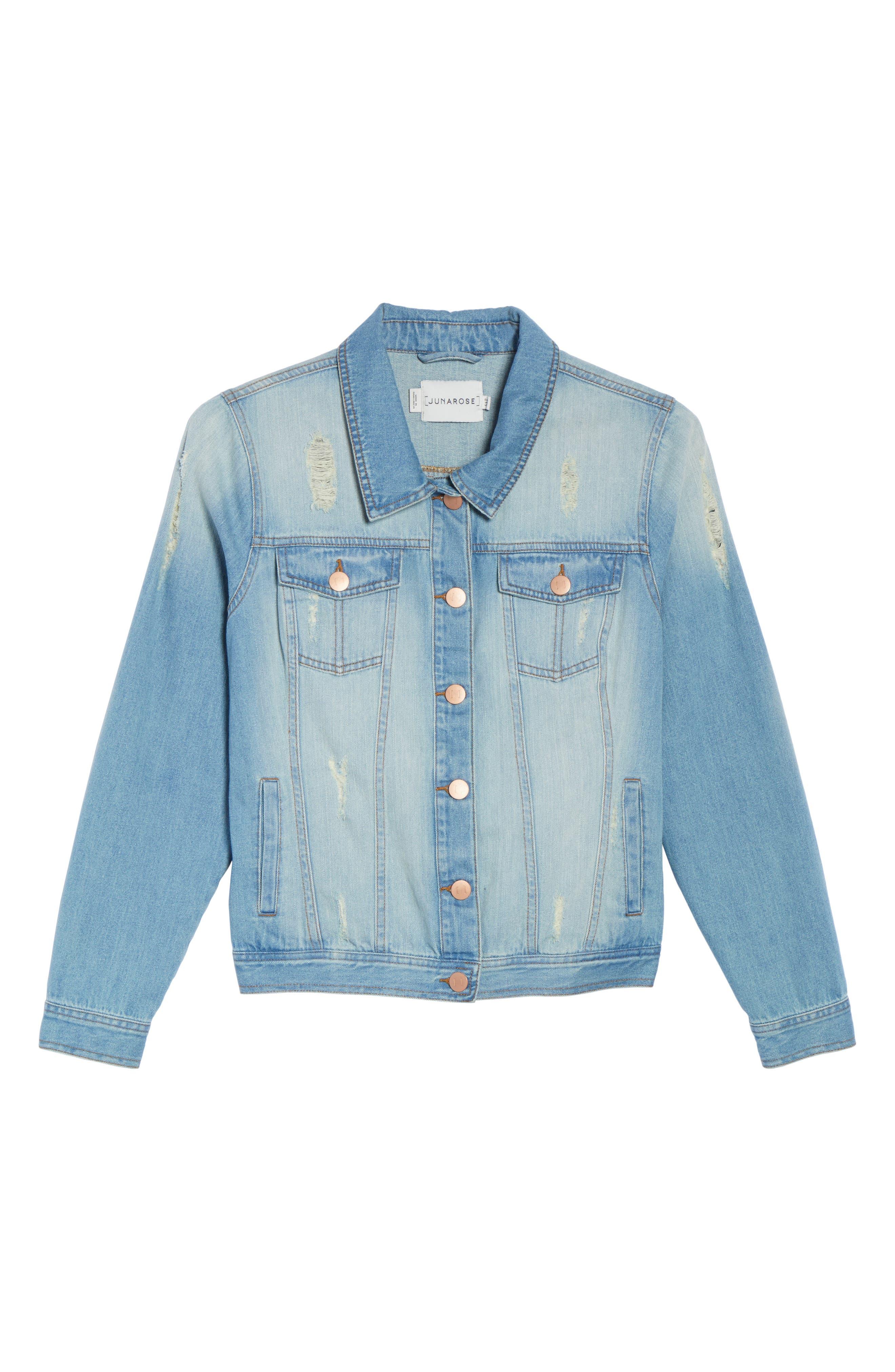 Alternate Image 6  - JUNAROSE Mikara Denim Jacket (Plus Size)