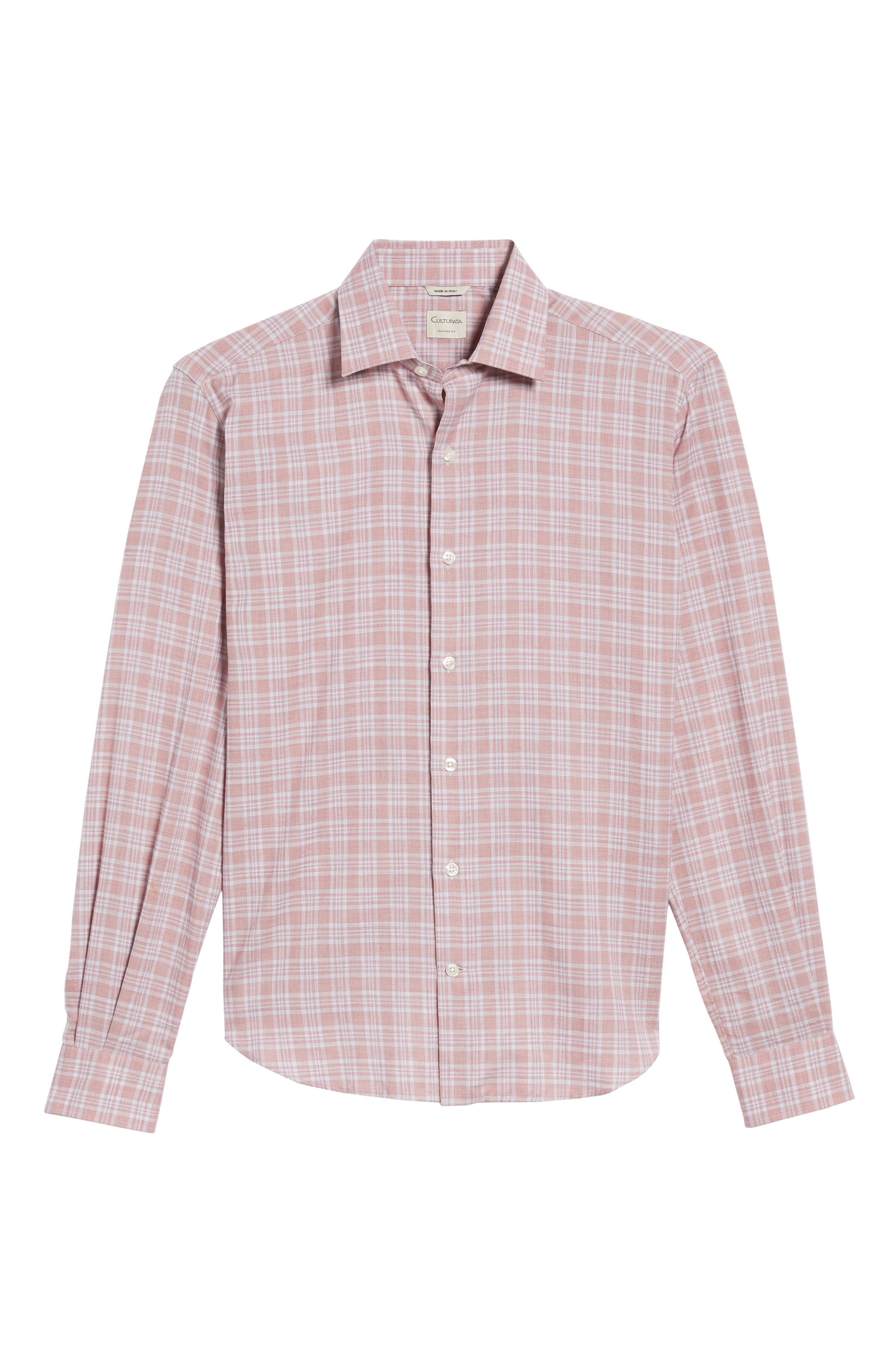 Slim Fit Plaid Sport Shirt,                             Alternate thumbnail 6, color,                             Pink