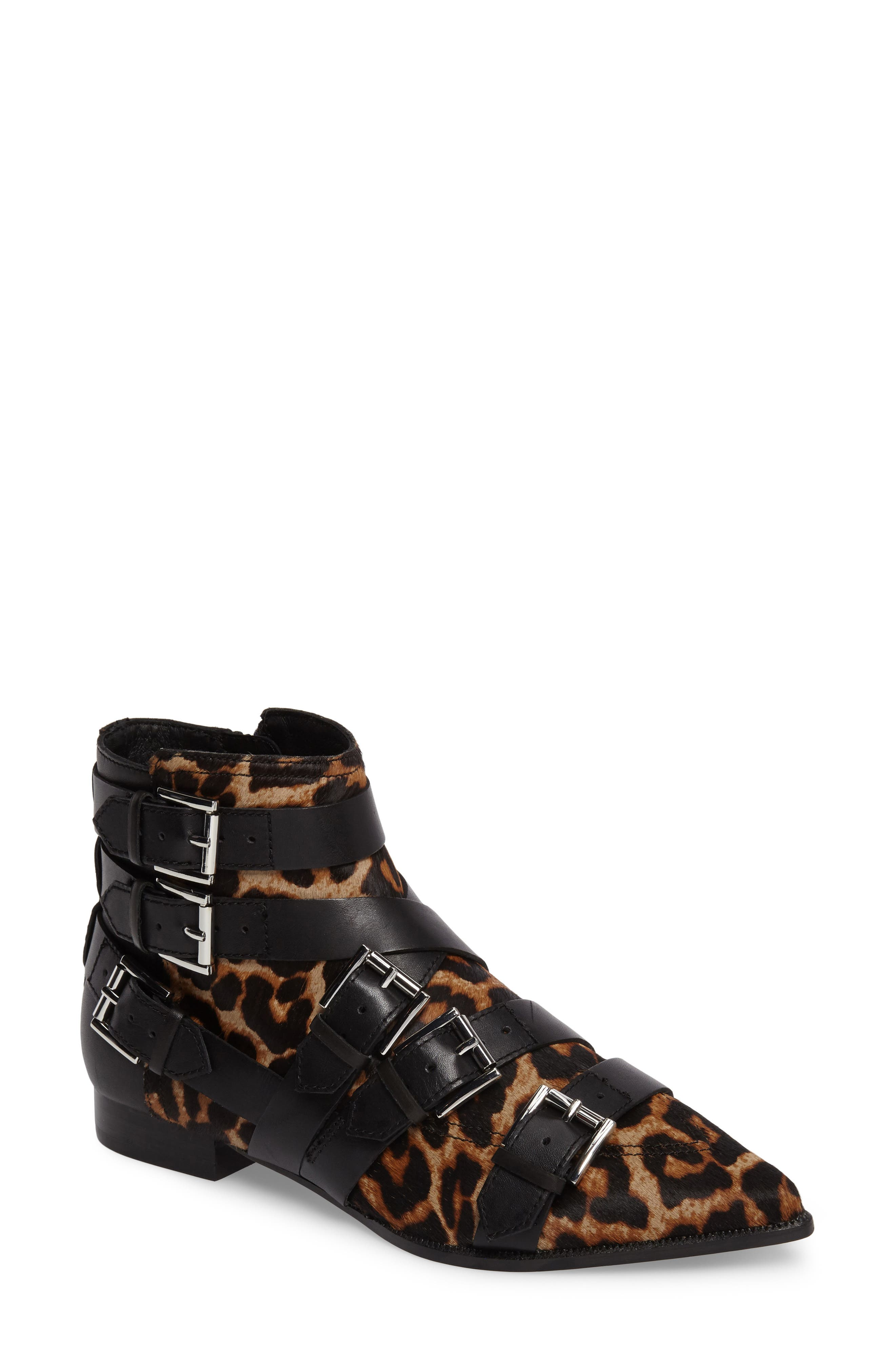 Ash Blast Genuine Calf Hair Buckle Strap Bootie (Women)
