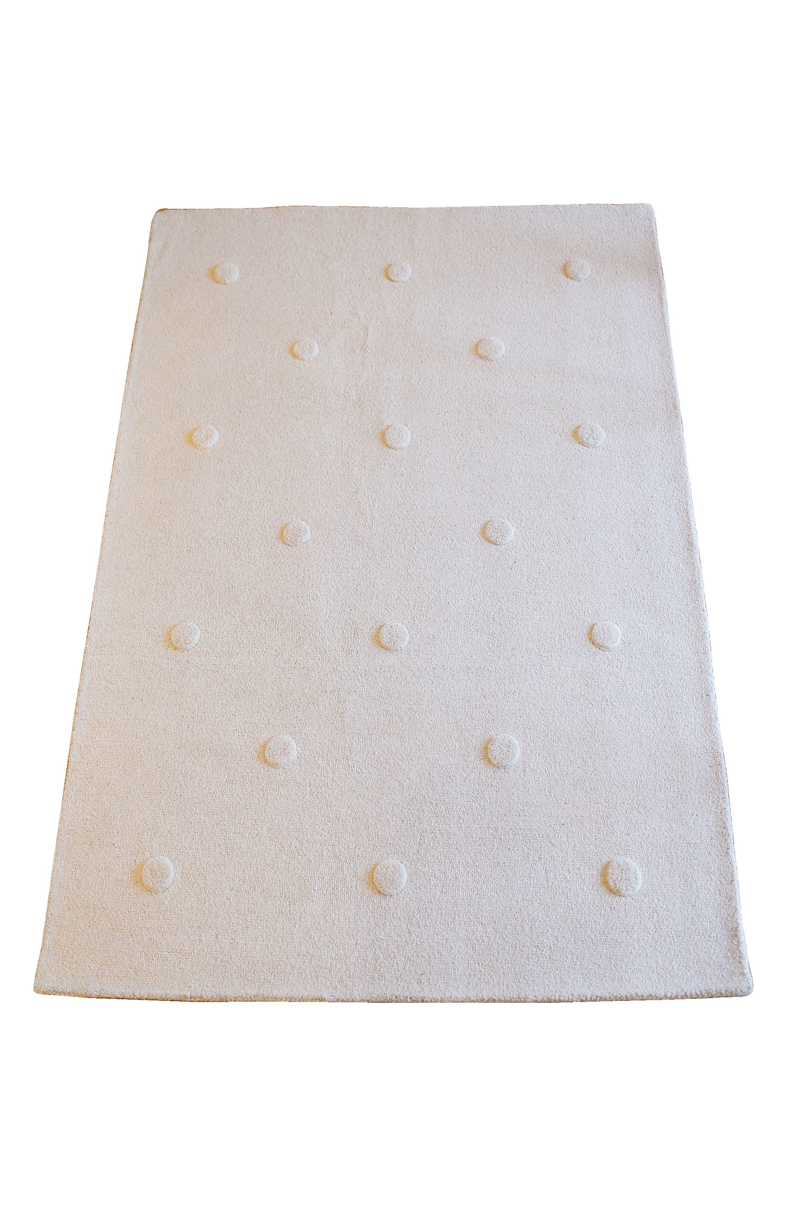 Ivory Pompom Wool Rug,                         Main,                         color, Ivory
