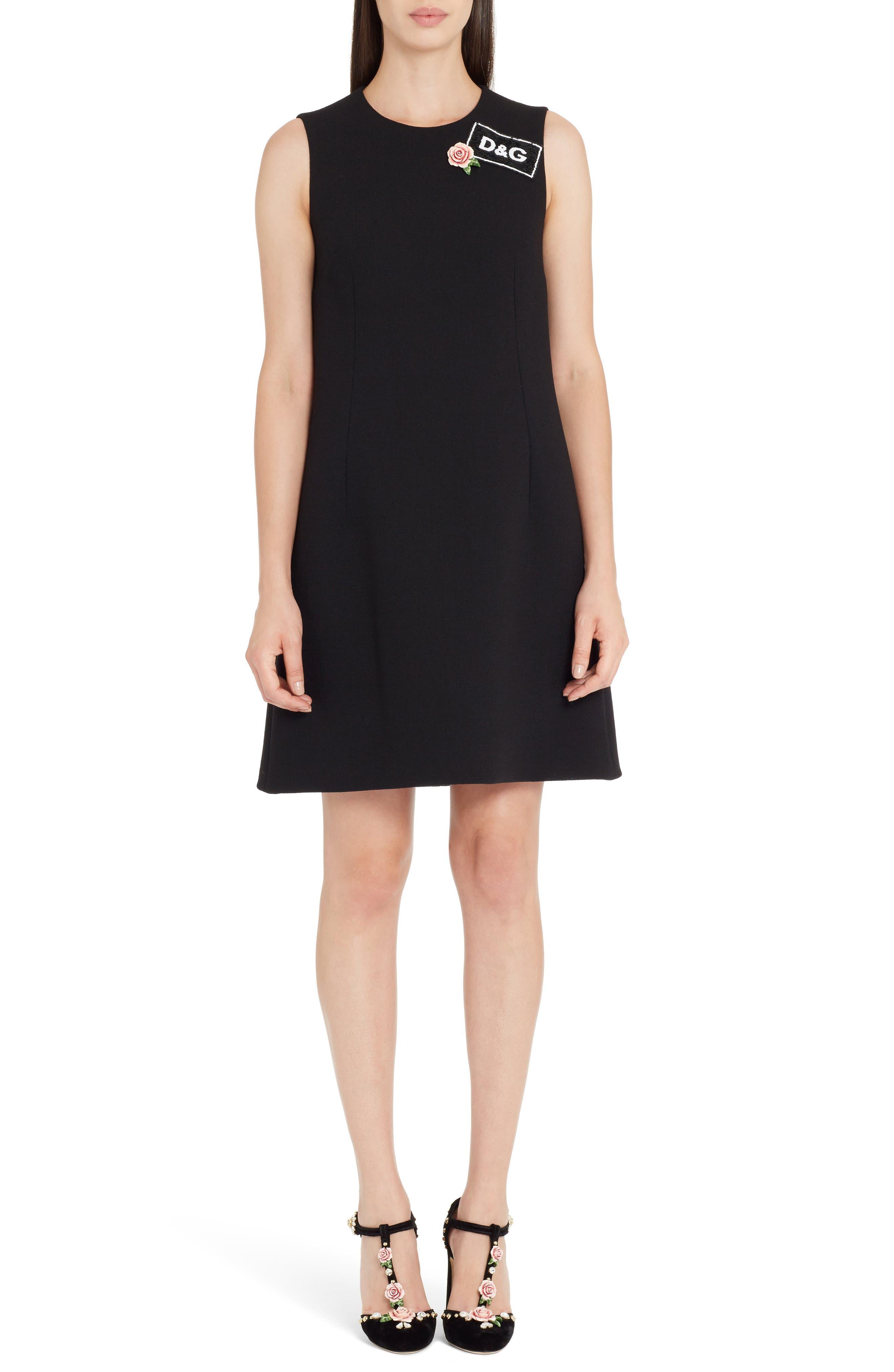 Sequin Logo Crepe A-Line Dress,                             Main thumbnail 1, color,                             Black