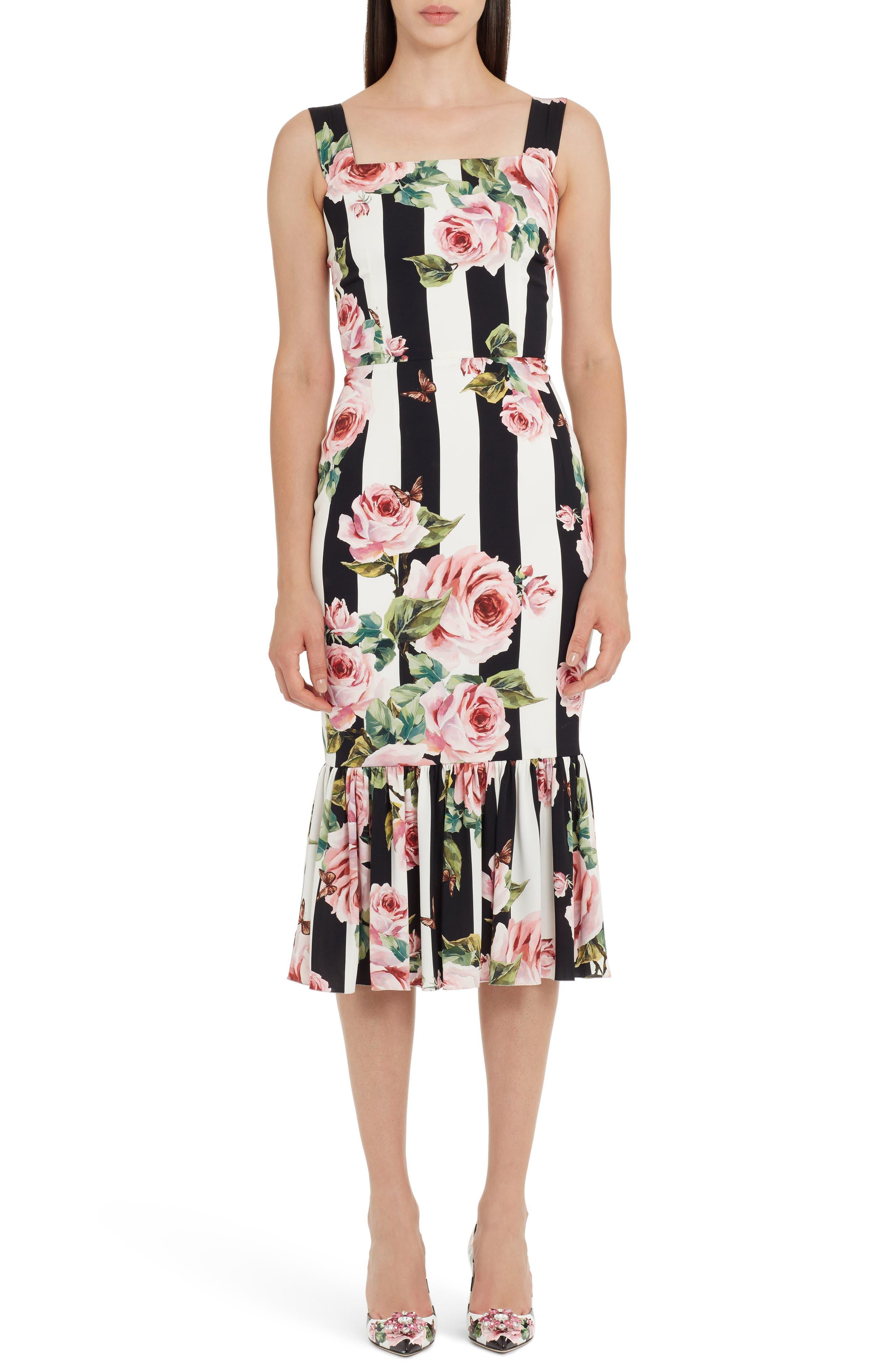 Main Image - Dolce&Gabbana Stripe Rose Print Stretch Silk Dress