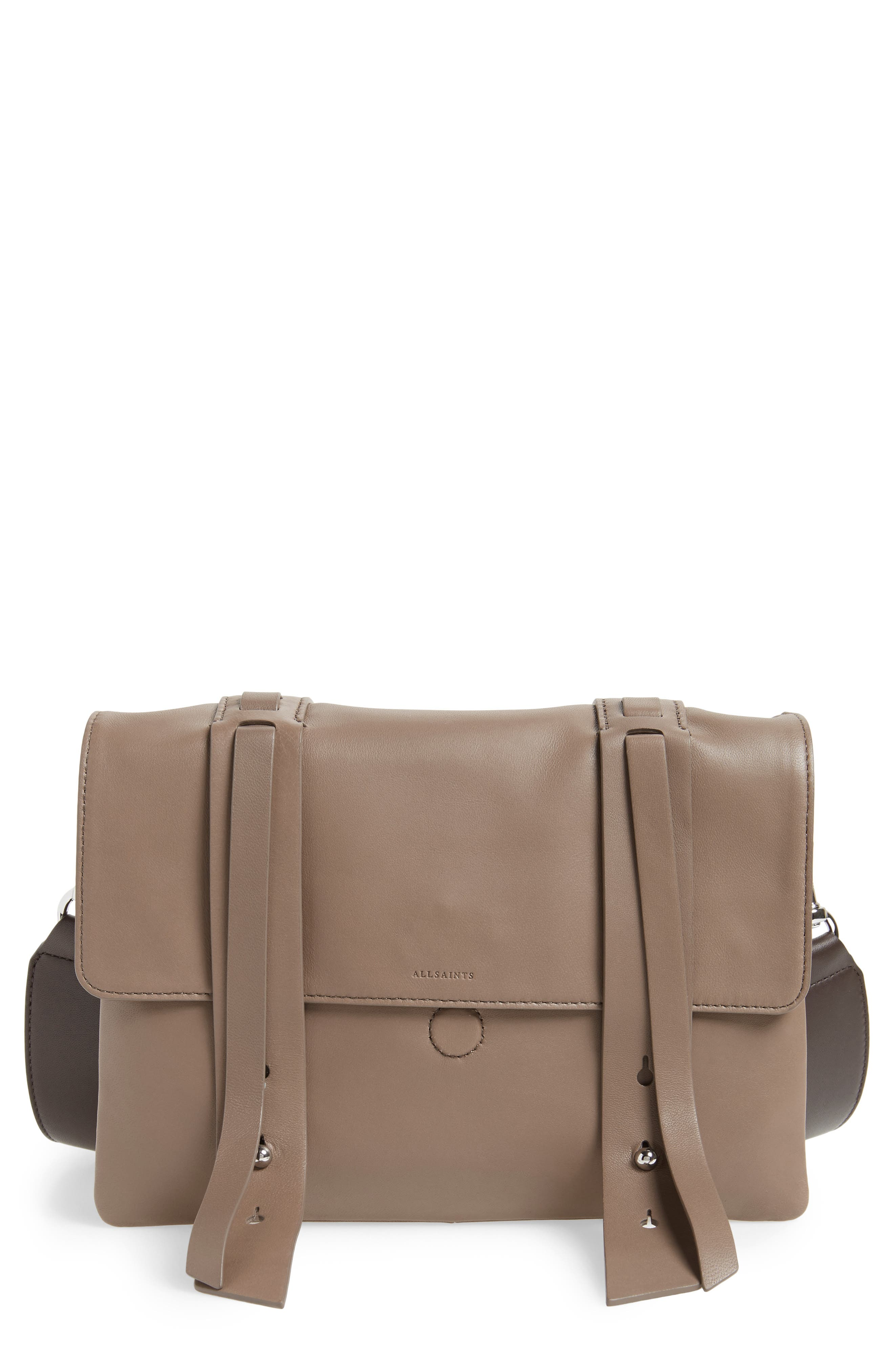 ALLSAINTS Fin Lambskin Leather Messenger Bag