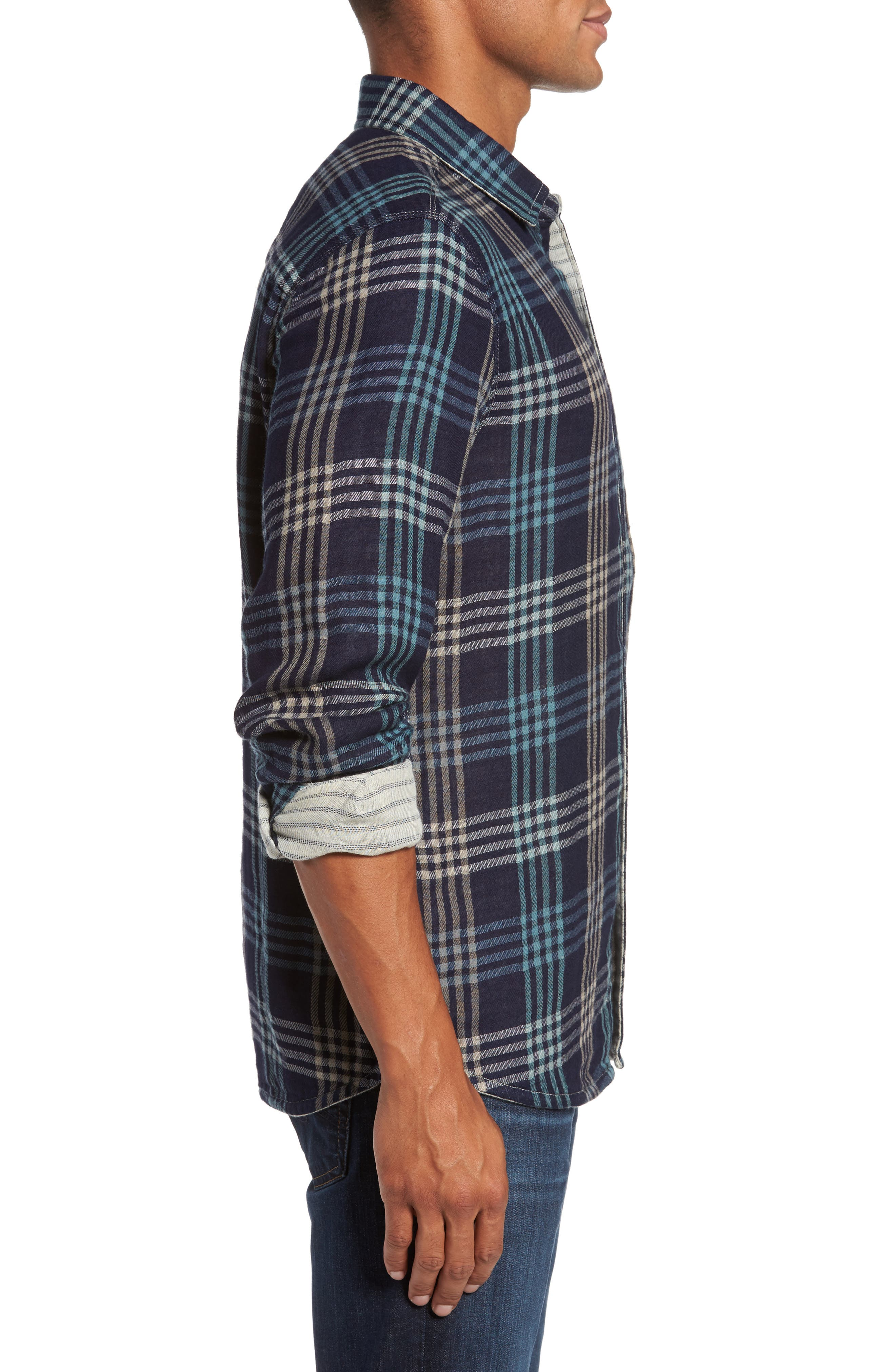 Cypress Reversible Twill Shirt,                             Alternate thumbnail 4, color,                             Inkwell