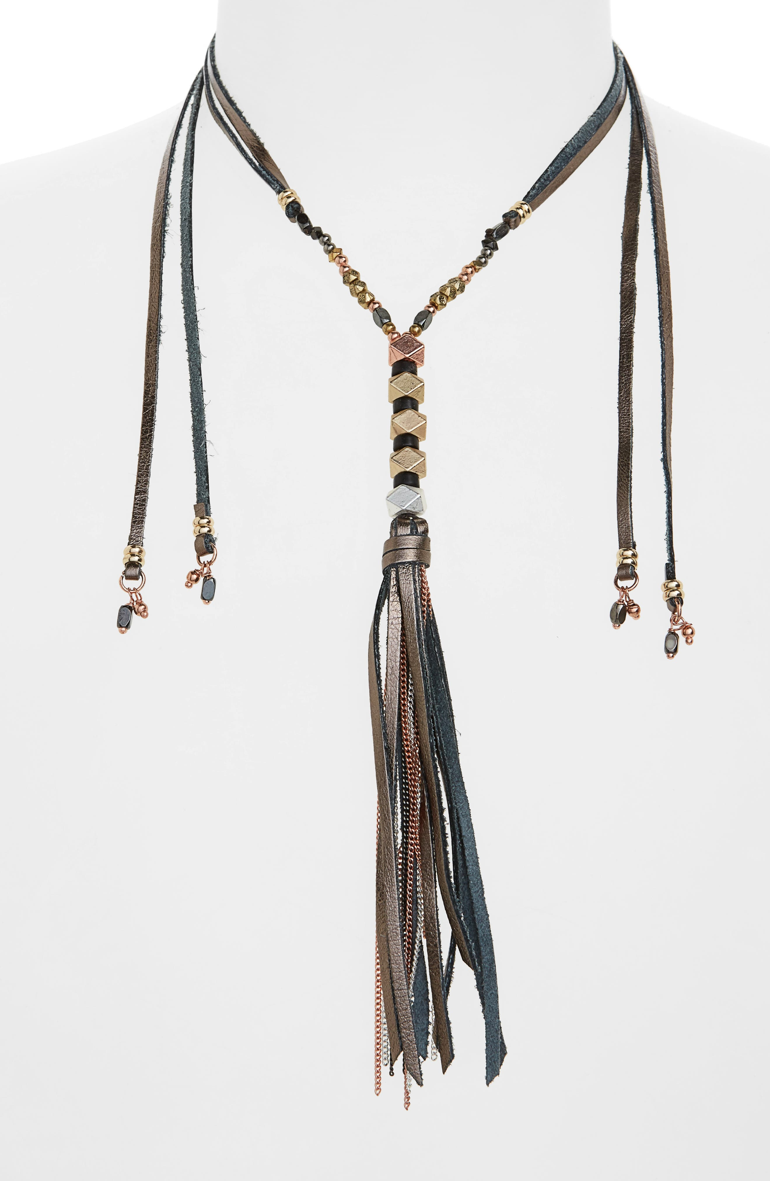 Leather & Metal Tassel Lariat Necklace,                         Main,                         color, Grey