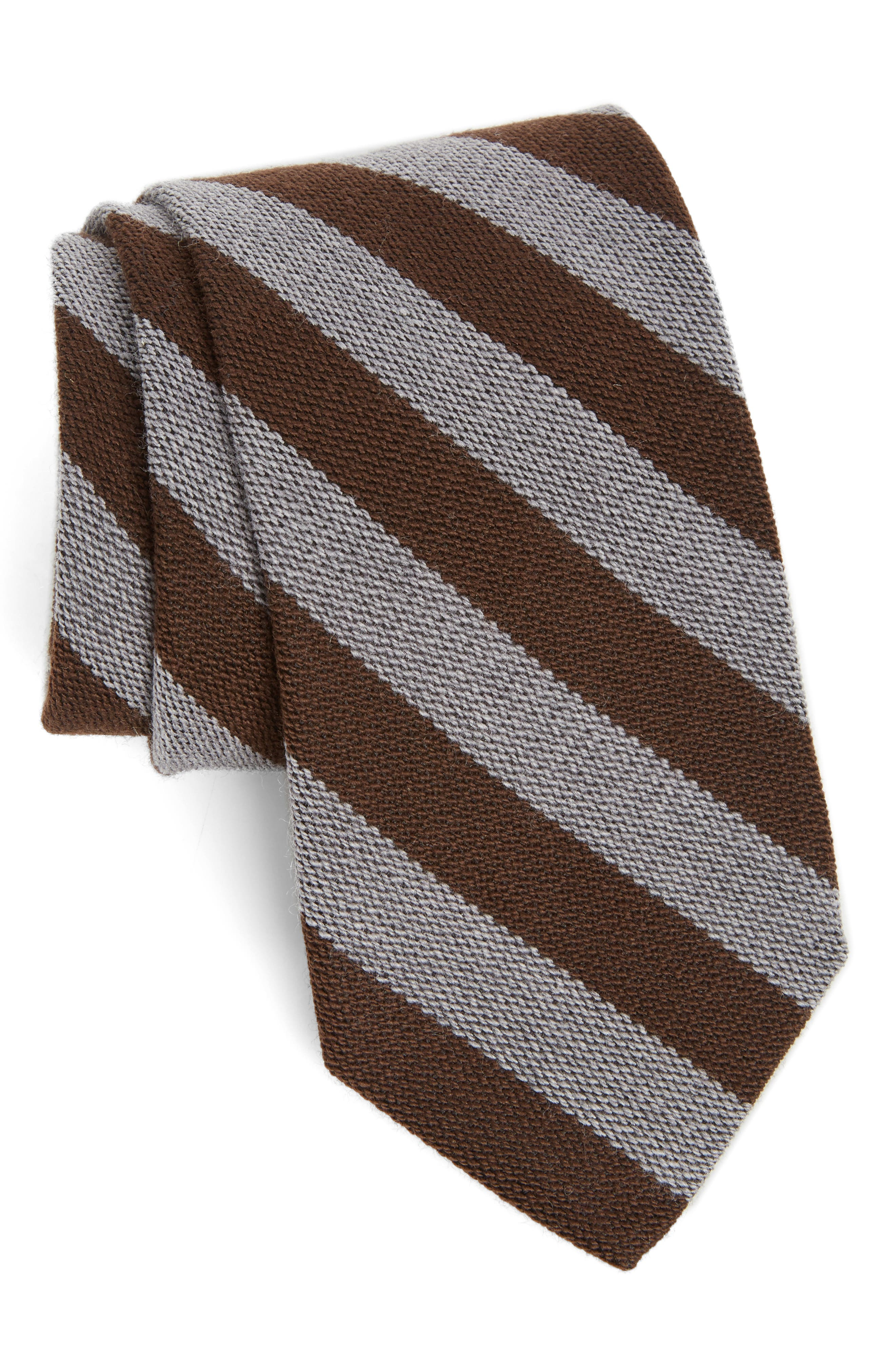 Stripe Wool & Silk Tie,                         Main,                         color, Brown
