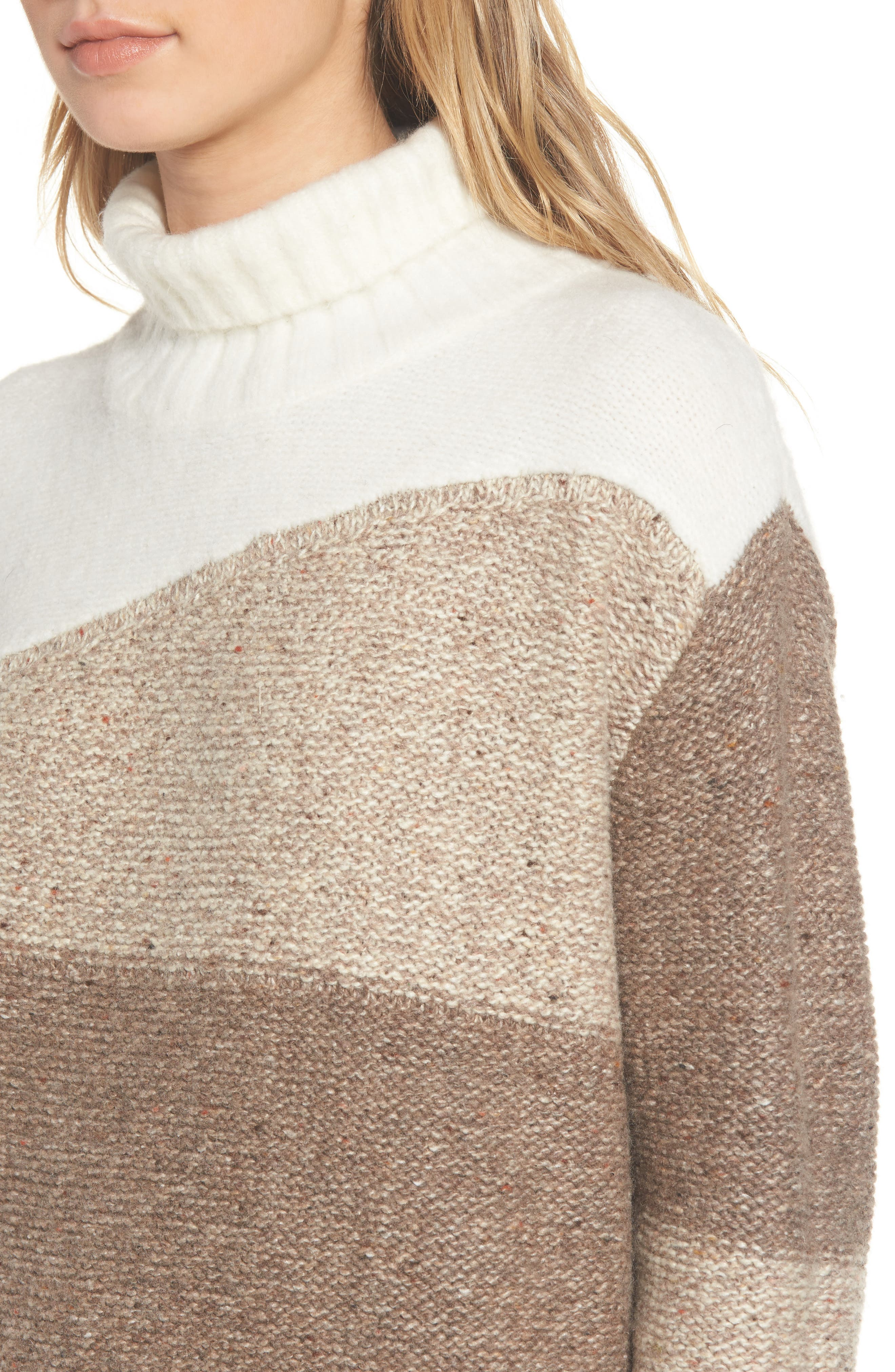 Anna Patchwork Turtleneck,                             Alternate thumbnail 4, color,                             Winter White