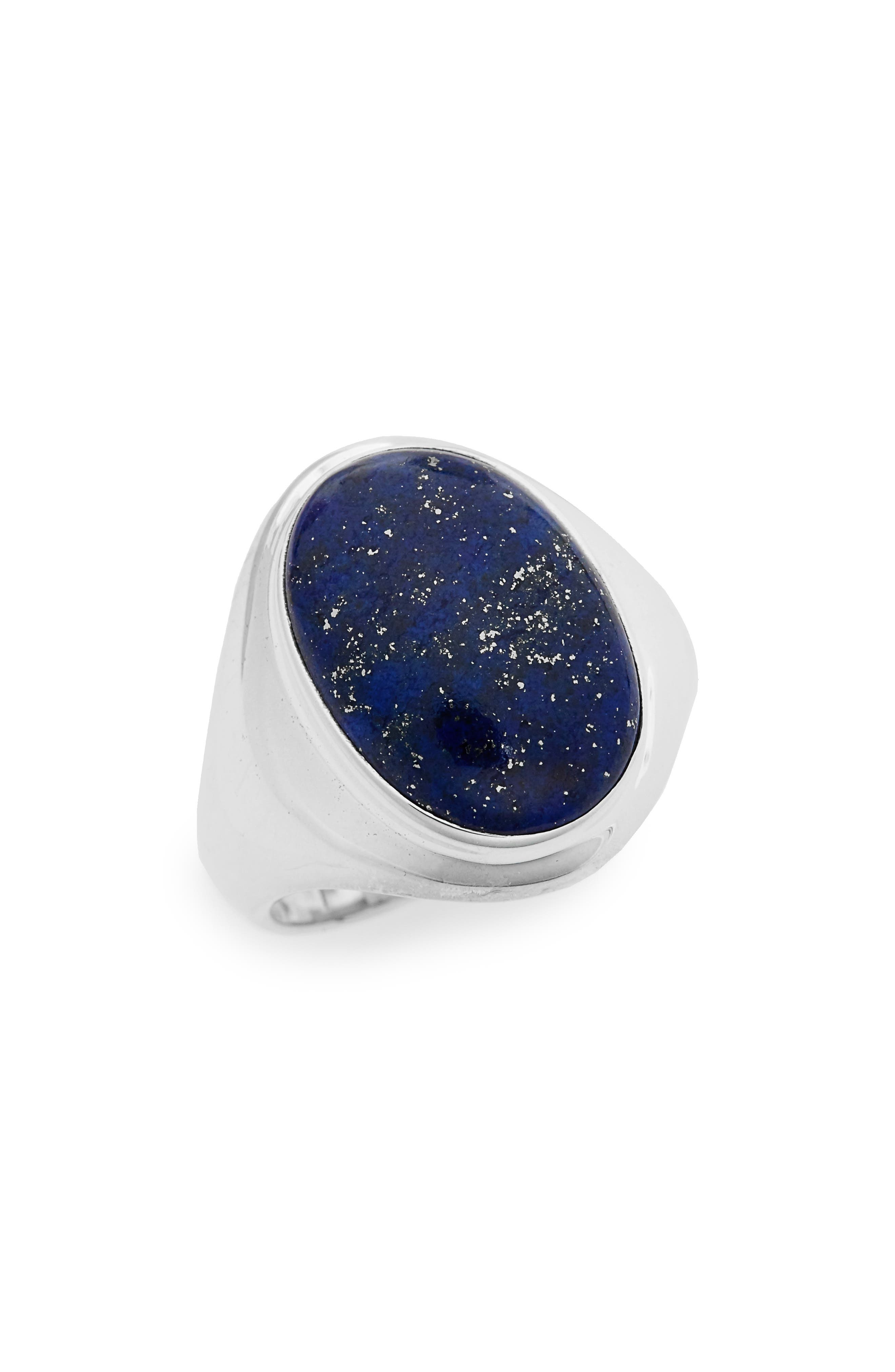 Semiprecious Stone Ring,                         Main,                         color, Sterling Silver/ Lapis